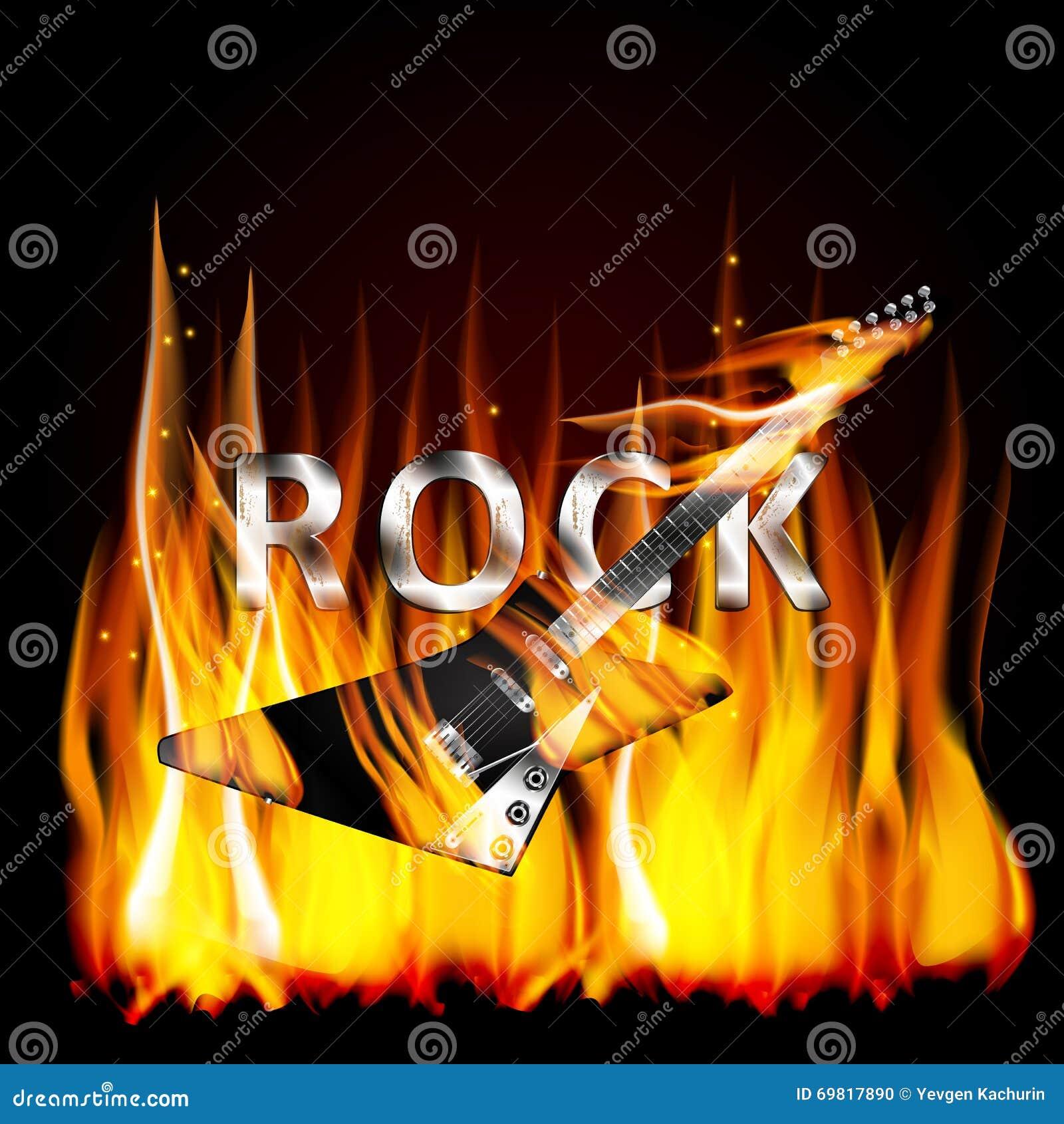 Guitarra da rocha nas chamas