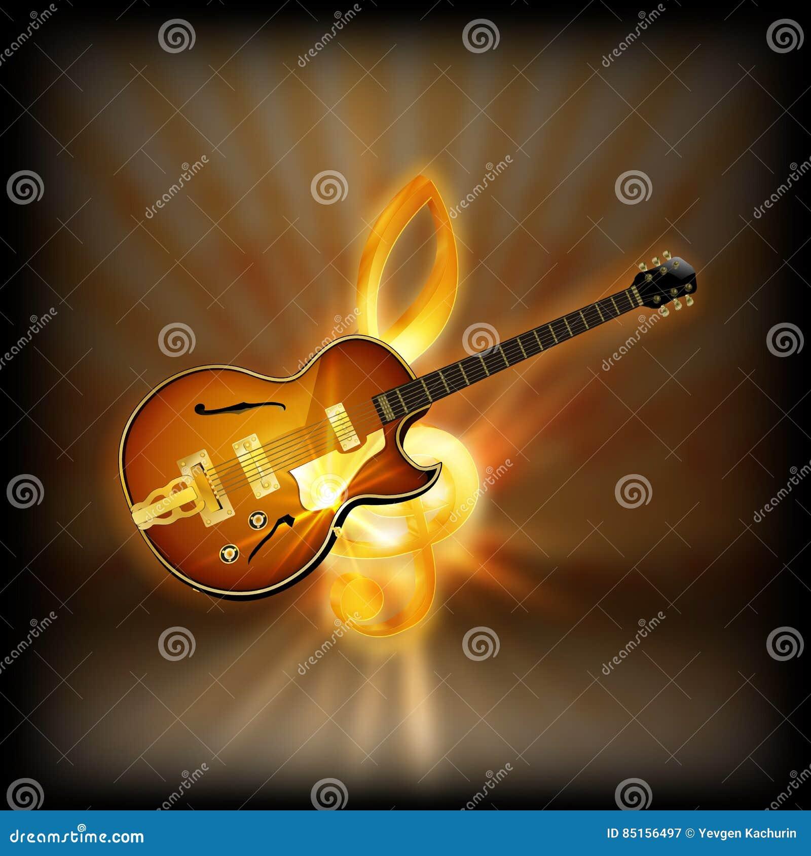 Guitarra Del Jazz En Una Clave De Sol Borrosa Del Fondo Ilustración