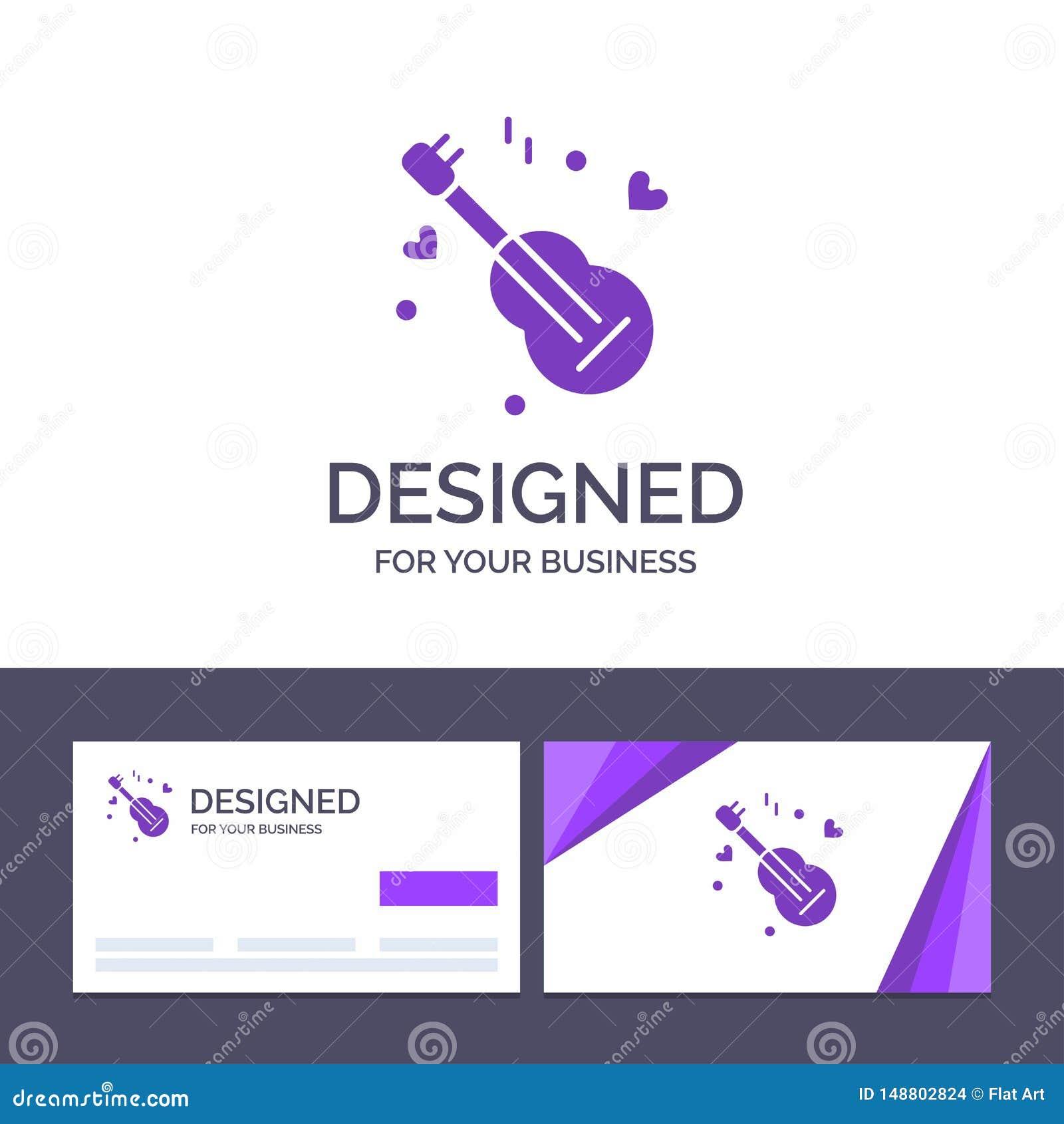 Guitarra do molde criativo do cartão e do logotipo, música, música, ilustração do vetor do amor