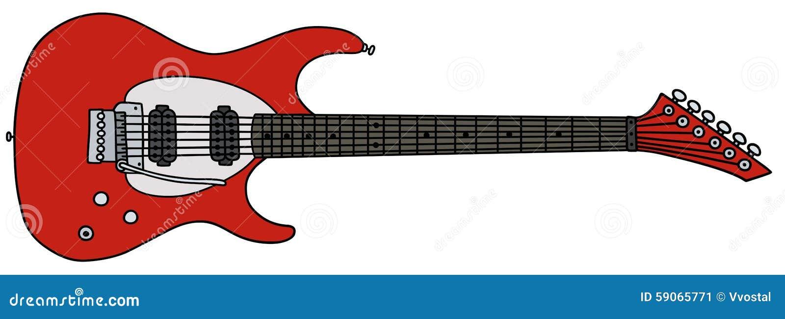 Guitarra Eléctrica Roja Ilustración Del Vector Ilustración