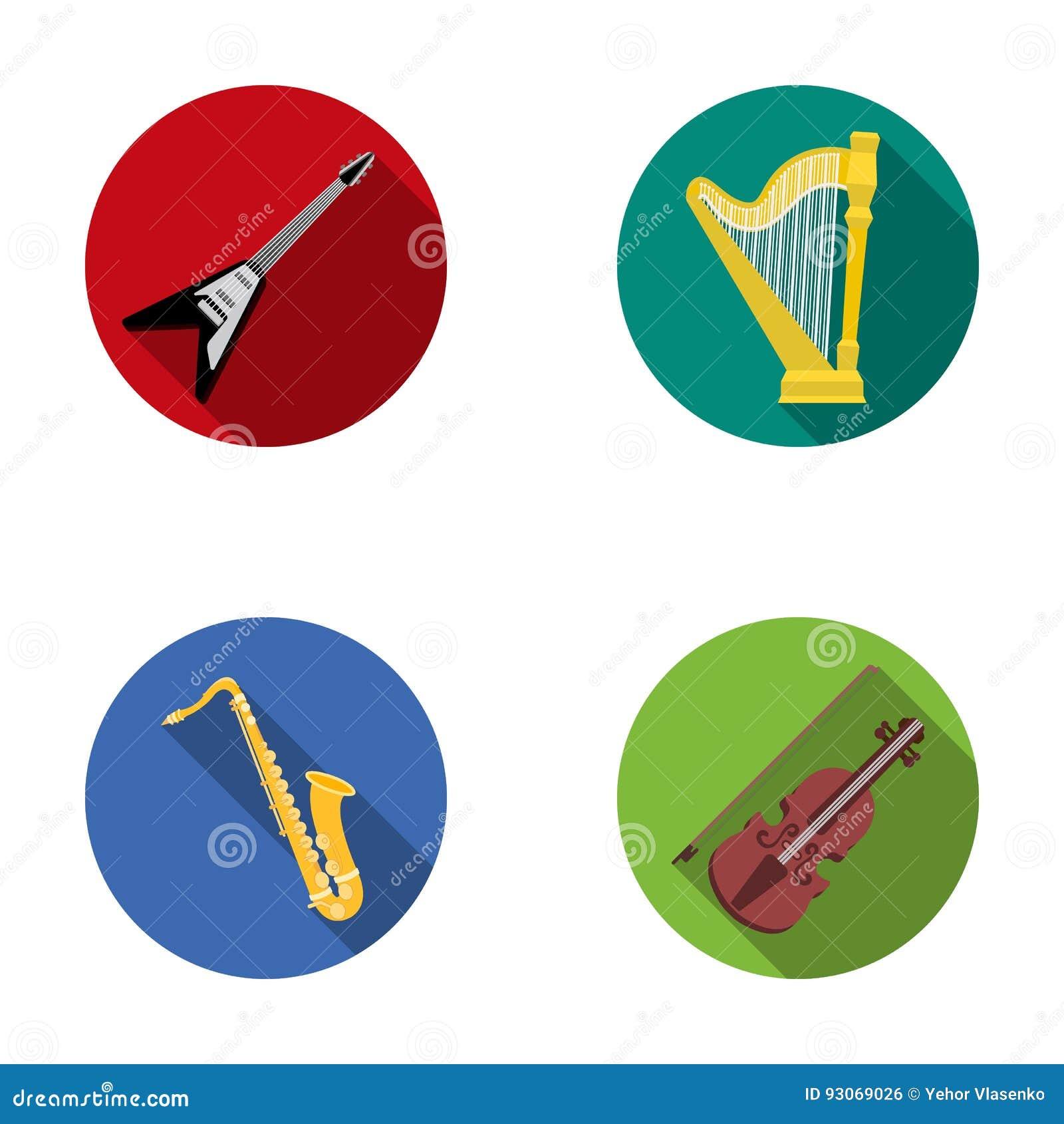 Guitarra elétrica, altifalante, harpa, saxofone, violino Os instrumentos de música ajustaram ícones da coleção no símbolo liso do