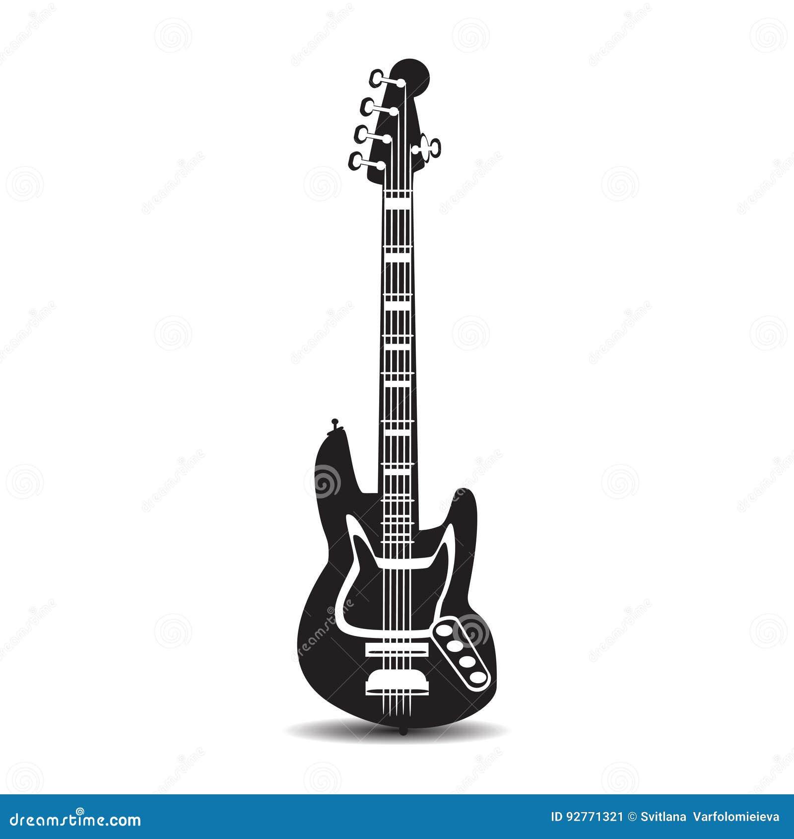 Guitarra elétrica, ilustração do vetor no estilo liso