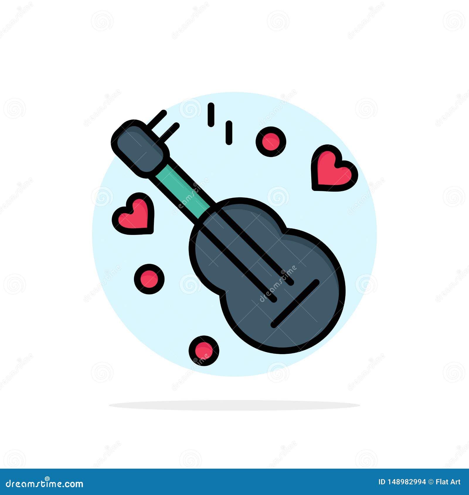 Guitarra, música, música, do fundo abstrato do círculo do amor ícone liso da cor