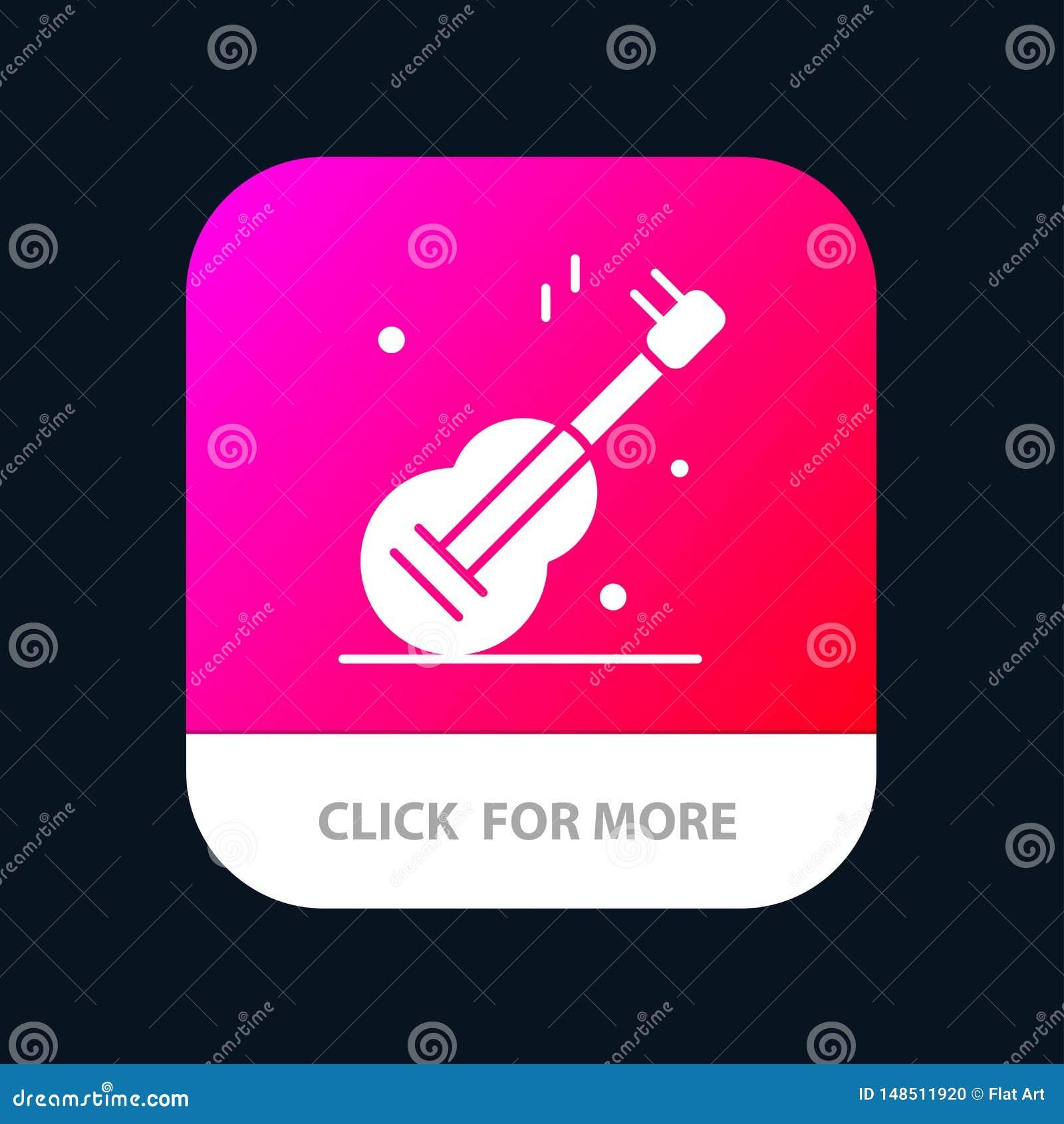 Guitarra, música, EUA, botão móvel americano do App Android e do Glyph do IOS versão