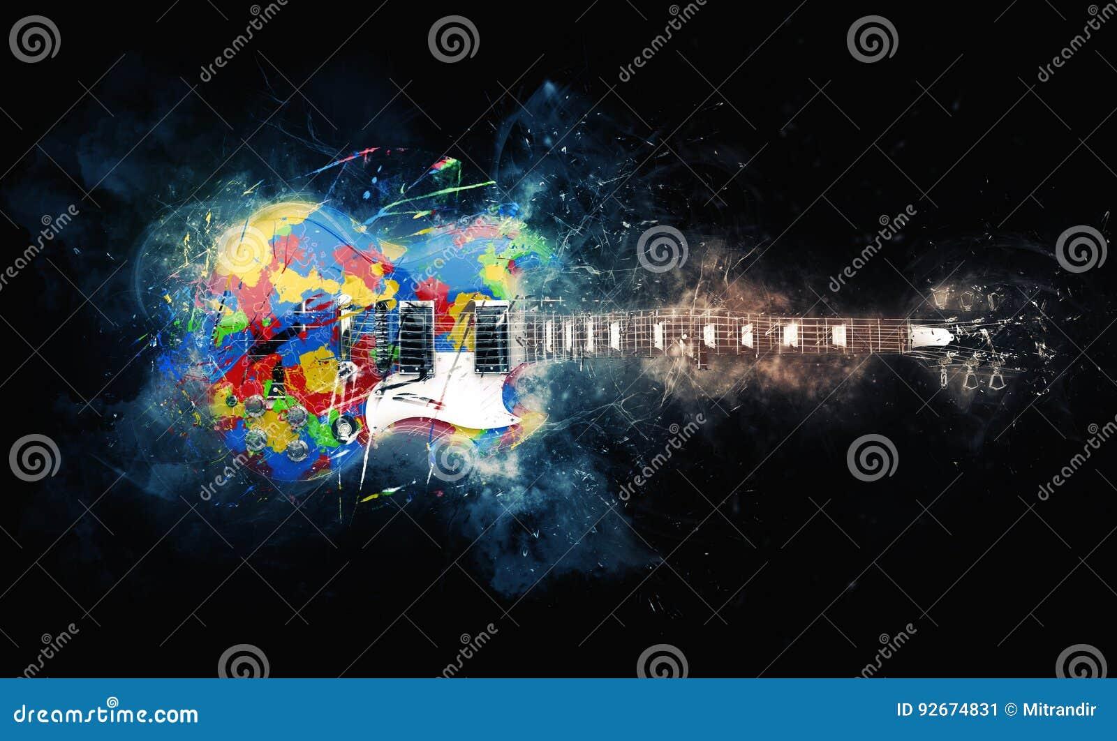 Guitarra psicadélico colorida da rocha