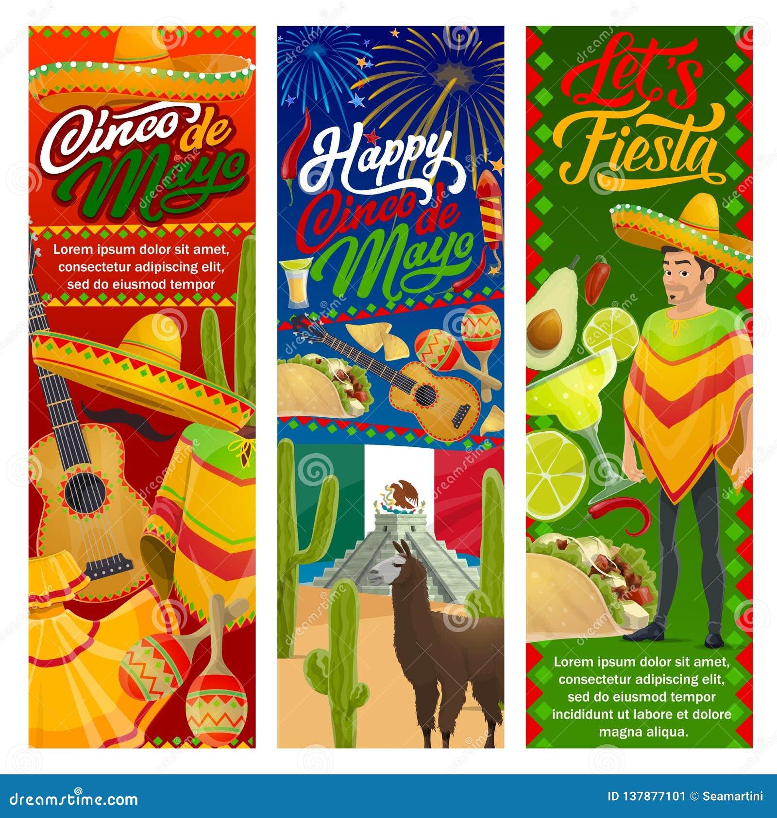 Mariachi del partido de la fiesta de Cinco de Mayo con diseño del vector  del sombrero y de la guitarra de día de fiesta mexicano Margarita del  Tequila bc6c274c5b4