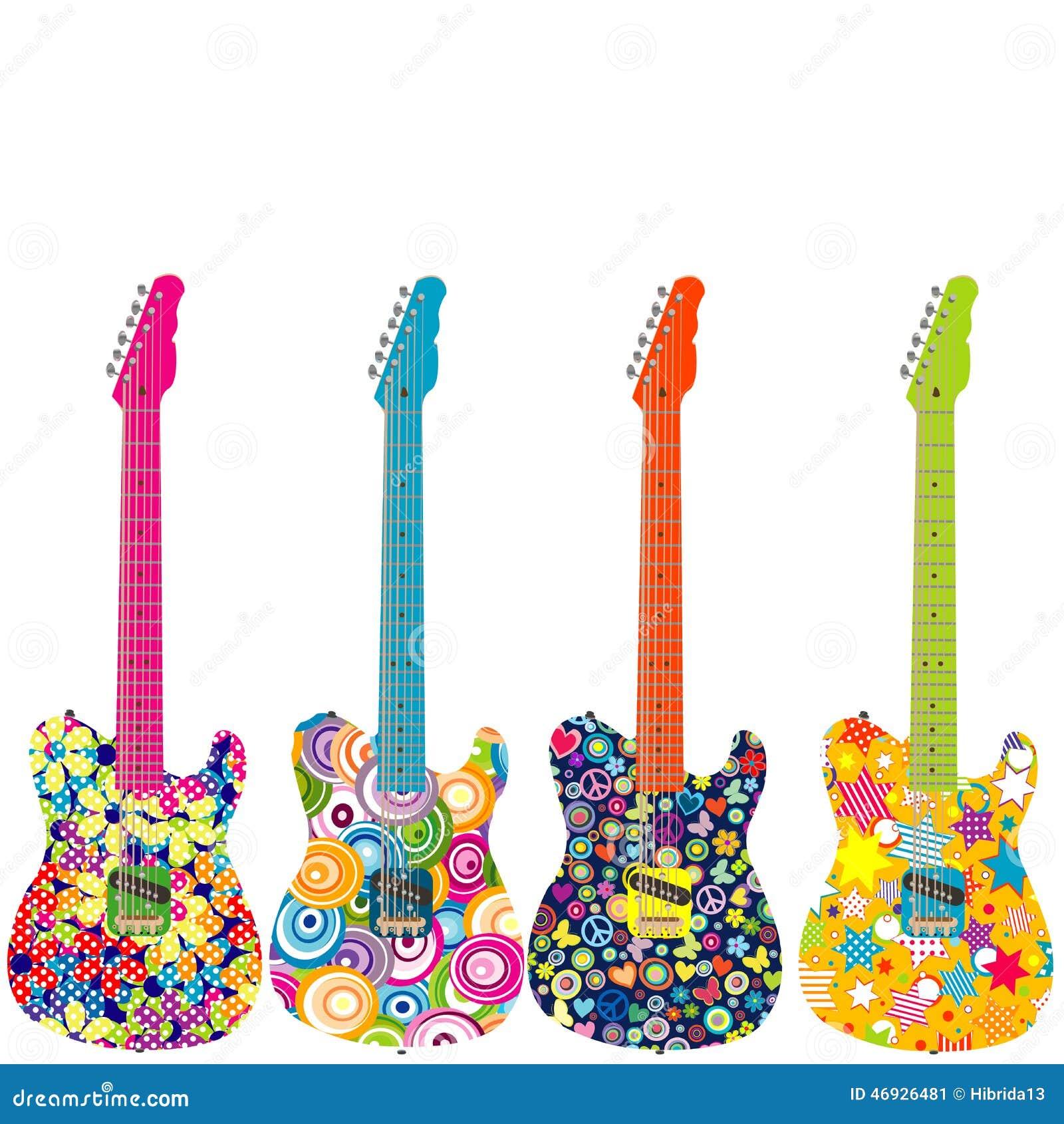 Guitarras Eléctricas Del Flower Power Stock De Ilustración