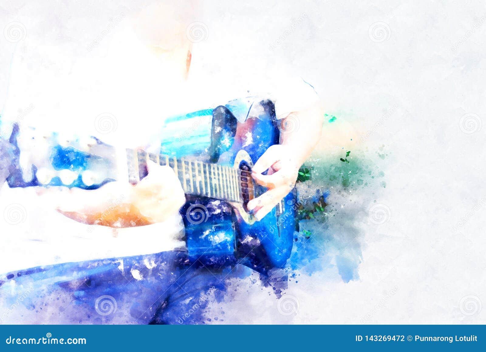 Guitarrista abstrato do homem que joga a guitarra acústica no primeiro plano no fundo da aquarela e na ilustração de pintura de D