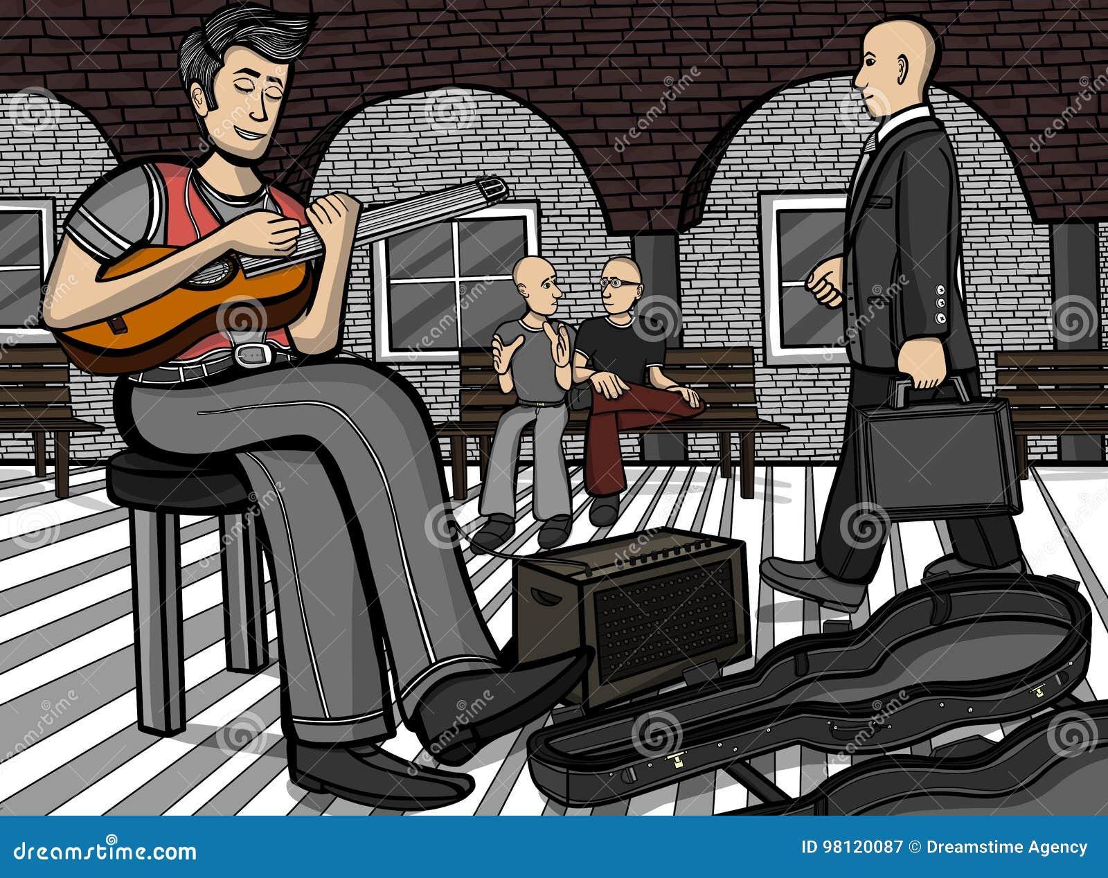 Guitarrista em um lugar público