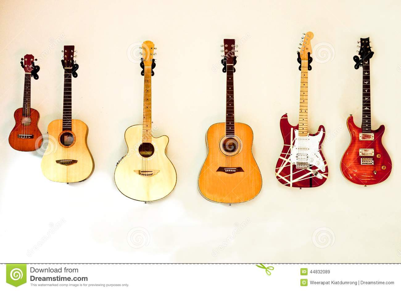 guitars stock image image of sound song wall play 44832089. Black Bedroom Furniture Sets. Home Design Ideas