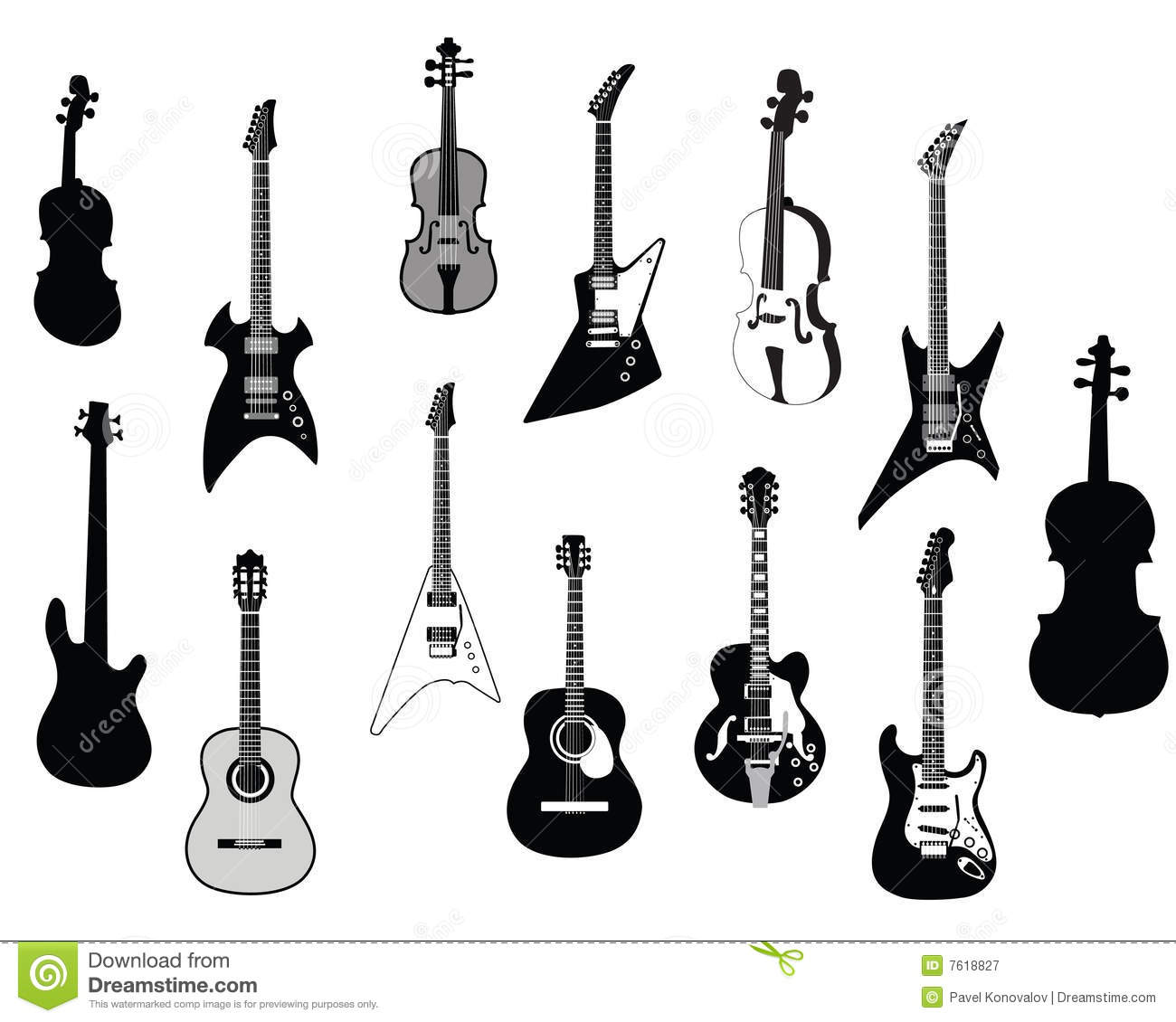 guitars silhouettes royalty free stock photography image bass guitar clipart black and white bass guitar clipart