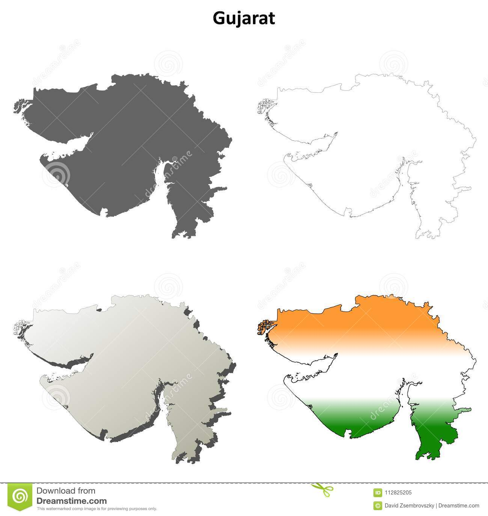 Gujarat Blank Detailed Outline Map Set Stock Vector - Illustration ...