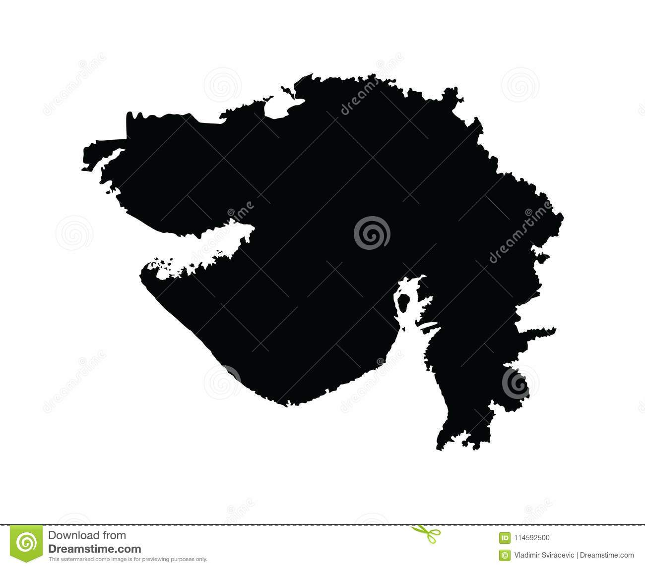 Gujarat Map, India State Province. Stock Illustration - Illustration ...