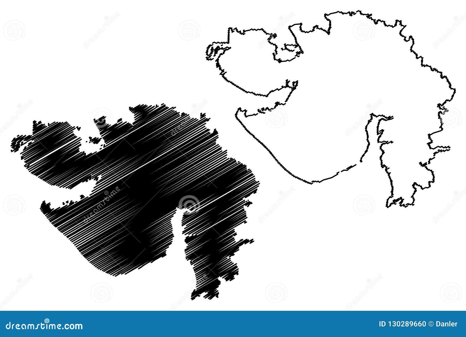 Gujarat map vector stock vector. Illustration of ahmedabad - 130289660