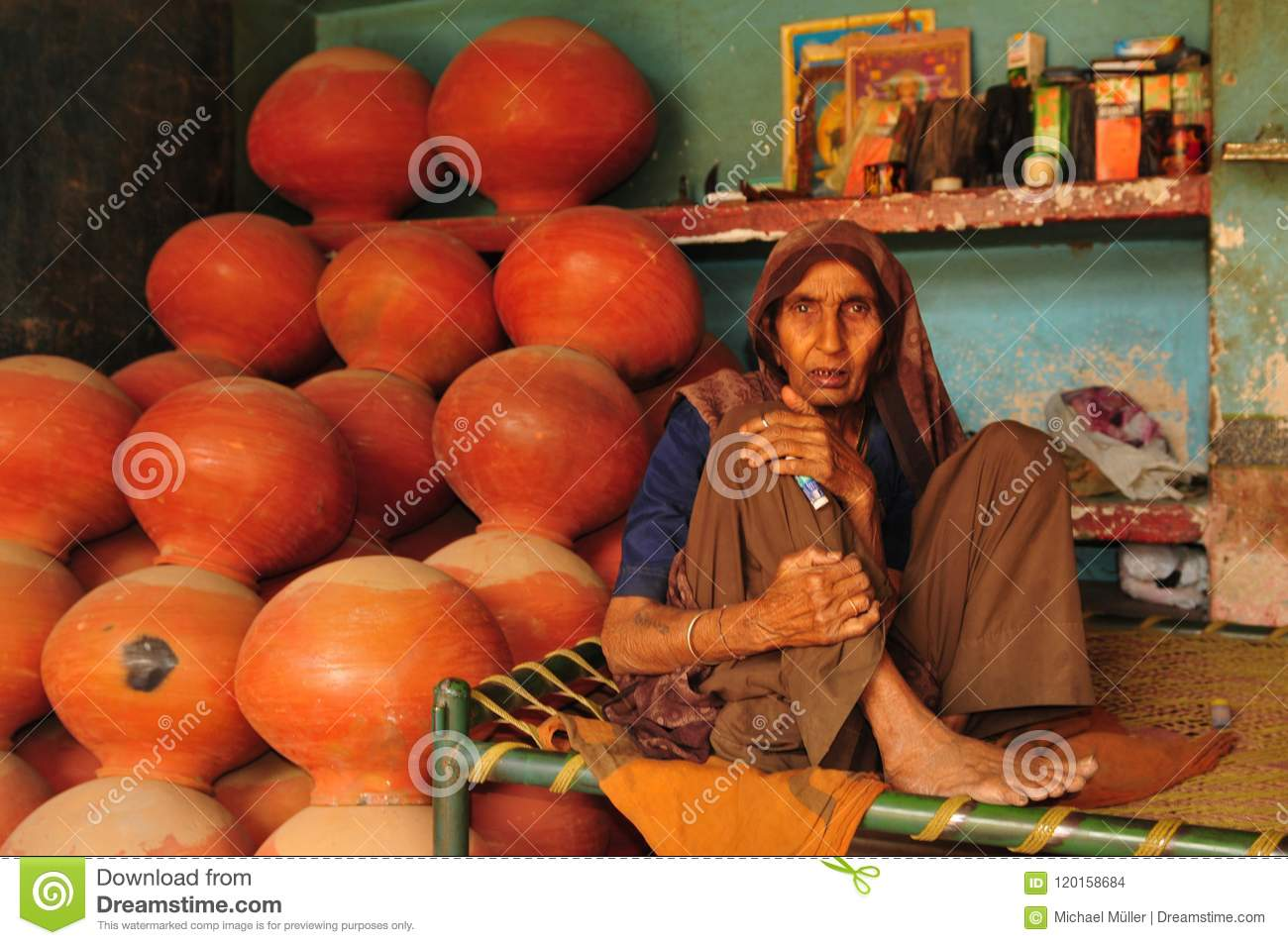 Gujarat Old Indian Woman Selling Terracota Mugs In Ahmedabad Ci