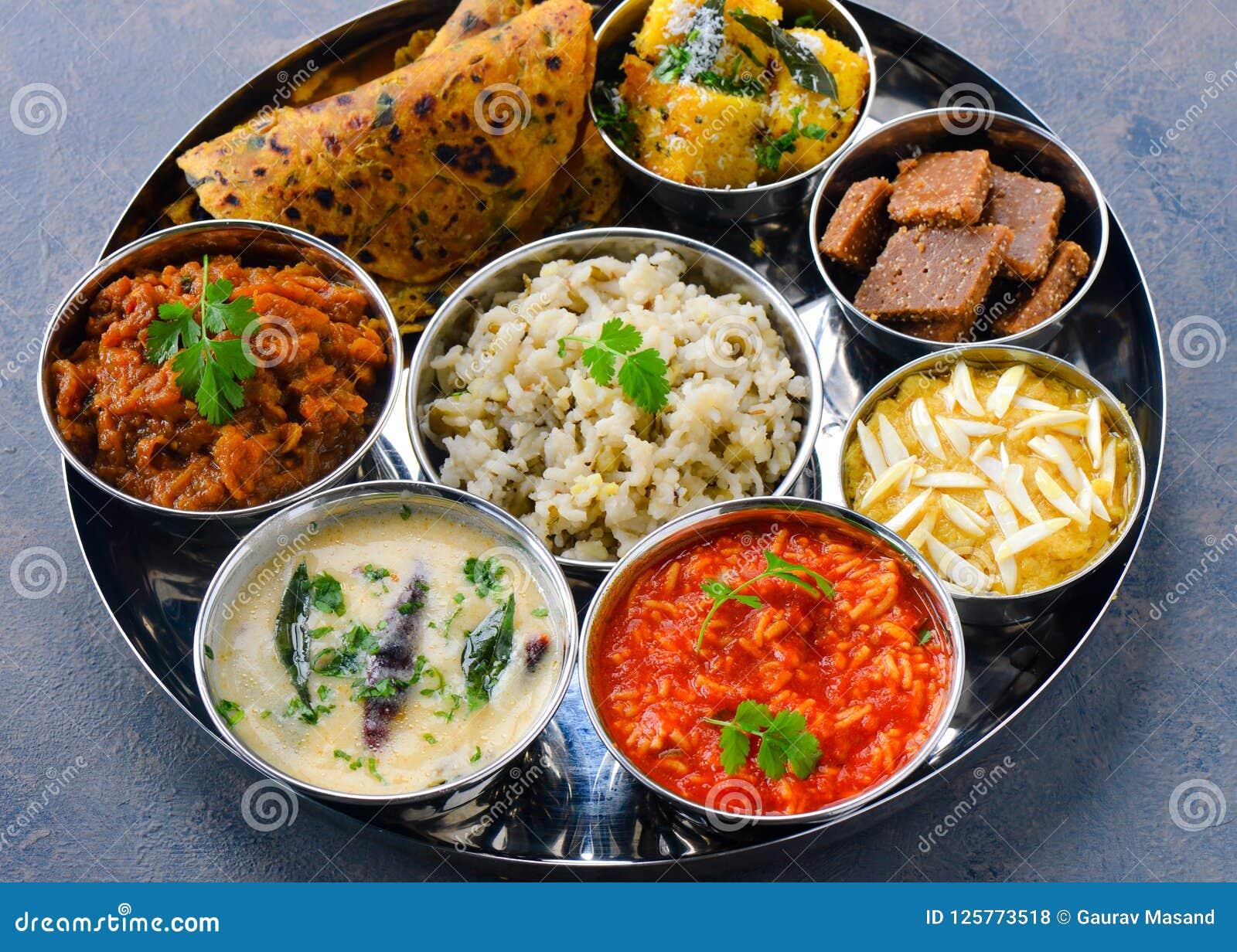 Gujarati Thaali Vegetarian Indian Meal Stock Photo Image