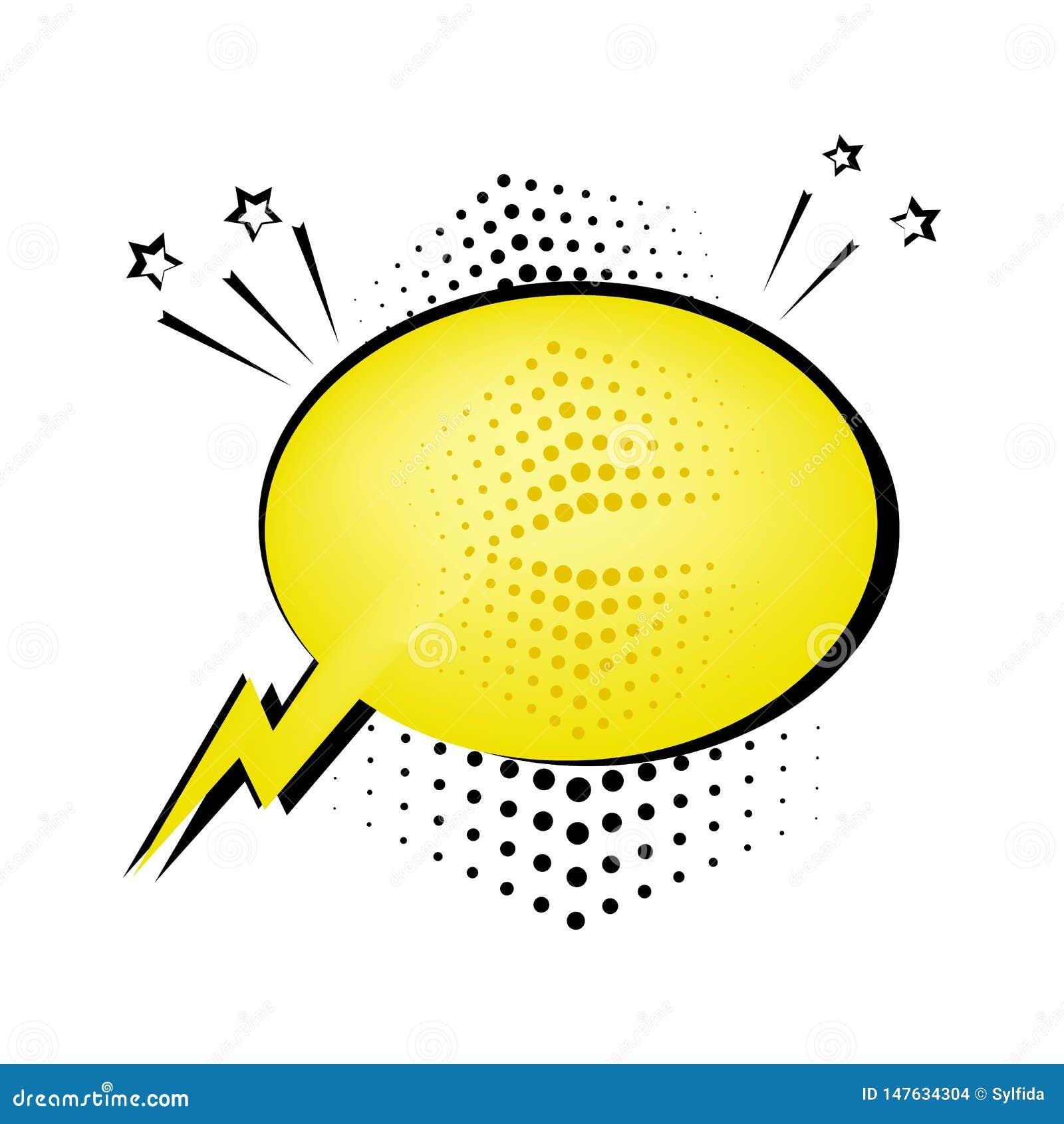 Gul anförandebubbla för din text Komiska solida effekter i stil f?r popkonst ocks? vektor f?r coreldrawillustration
