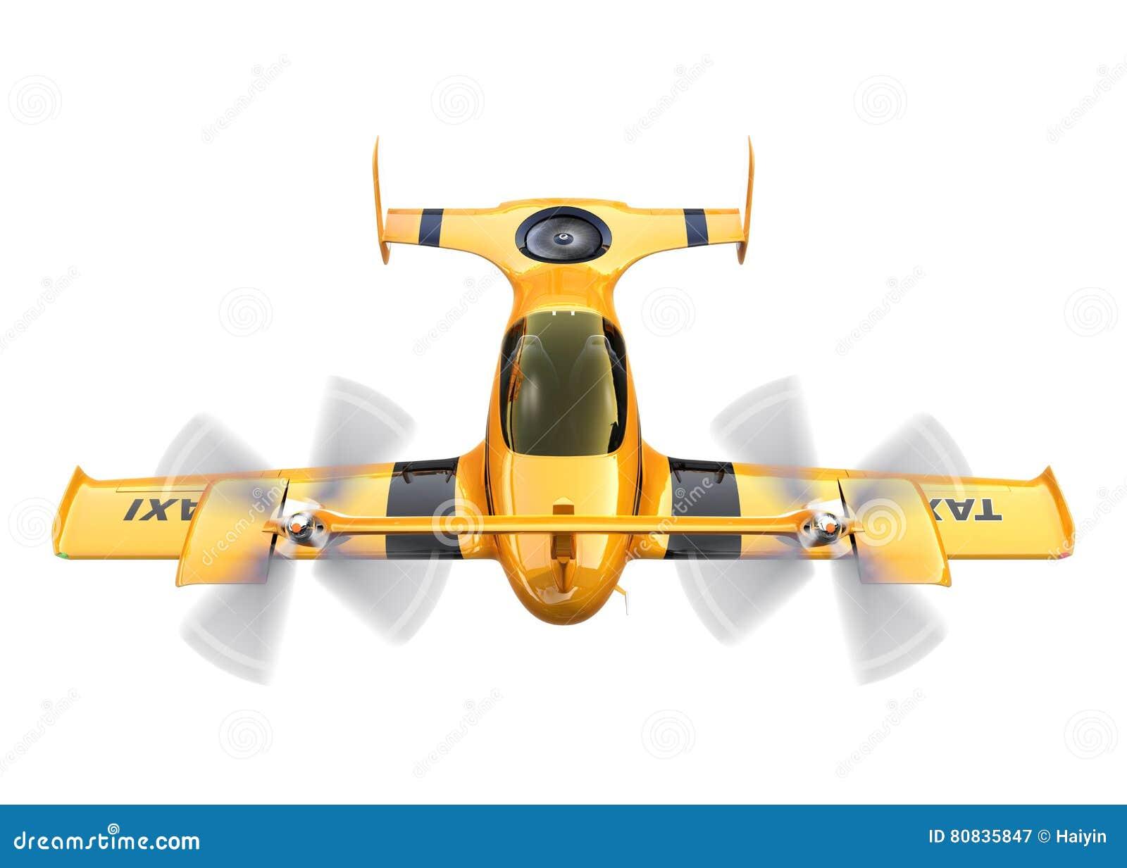 Gul autonom flygsurrtaxi som isoleras på vit bakgrund