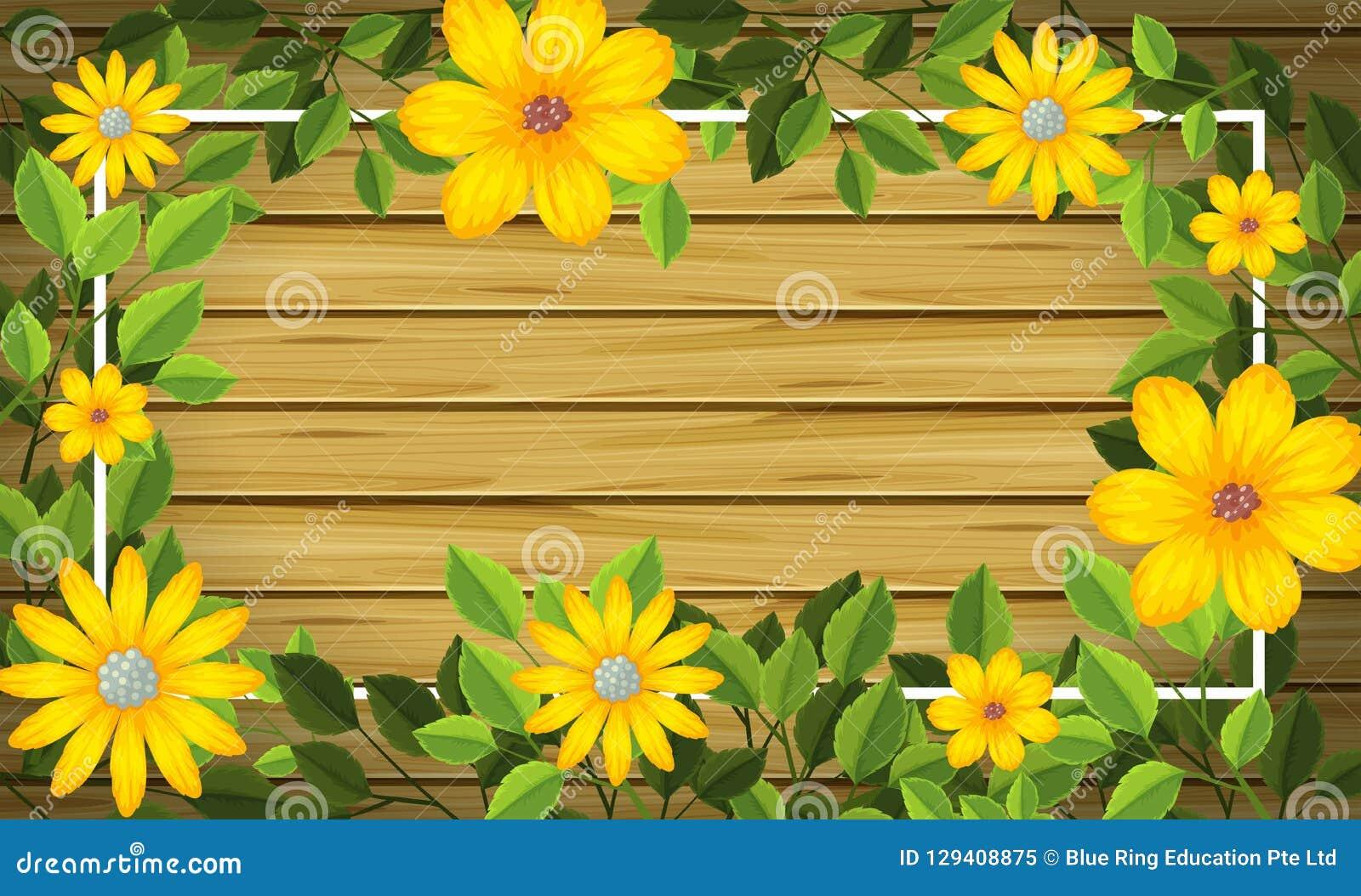 Gul blomma på träram