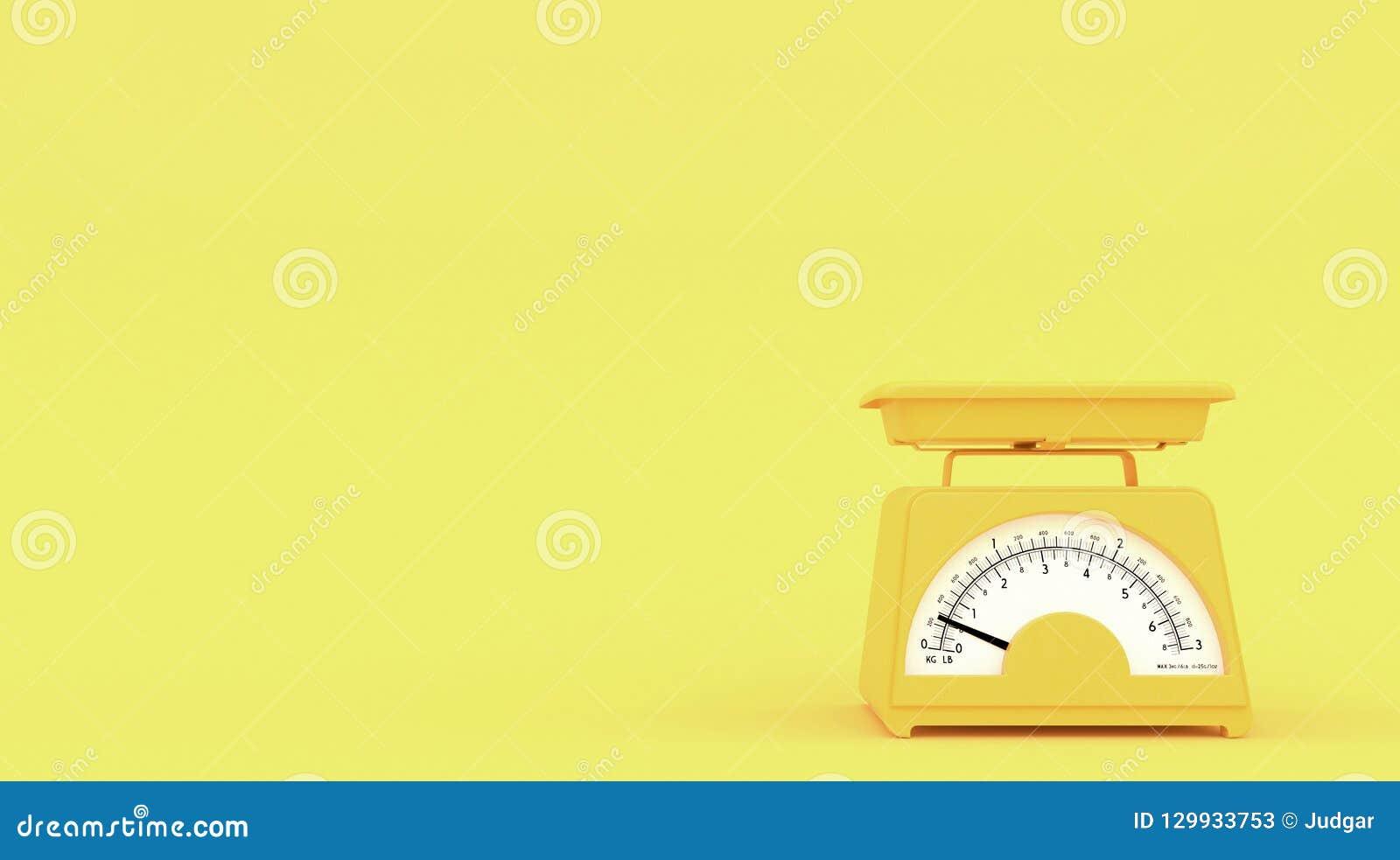 Gul gammal kökviktvåg på gul bakgrund med fritt utrymme för text eller logo kopiera avstånd framförande 3d