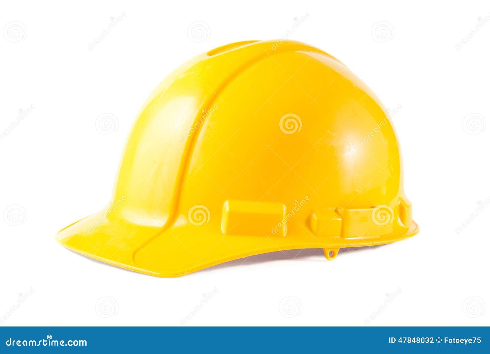 Gul konstruktionshatt som isoleras på vit