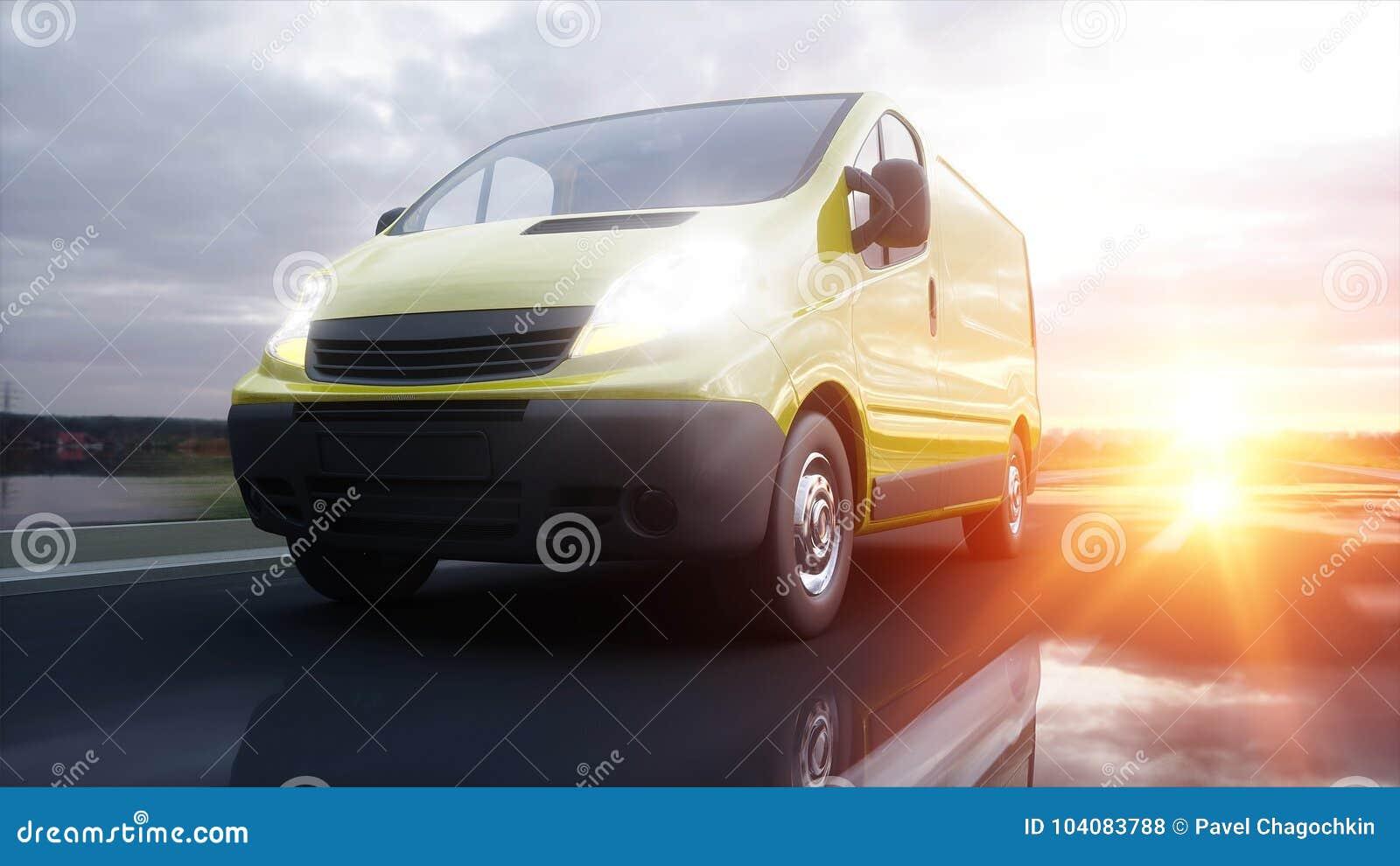 Gul leveransskåpbil på huvudvägen Mycket snabb körning Transport och logistiskt begrepp framförande 3d
