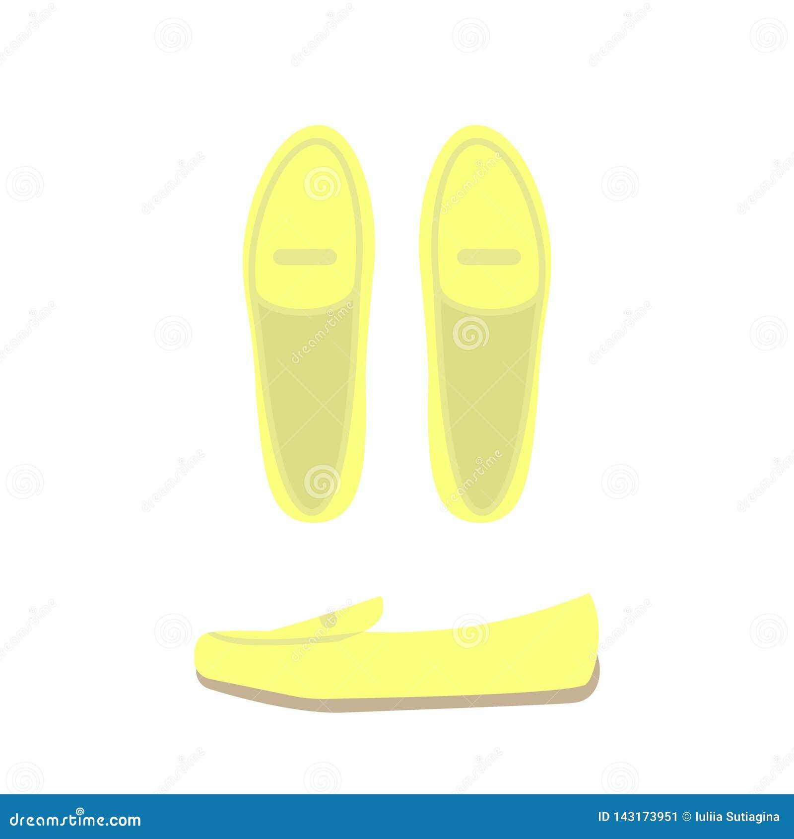 Gul sikt för skoöverkant och sido Kvinnors tillfälliga skor