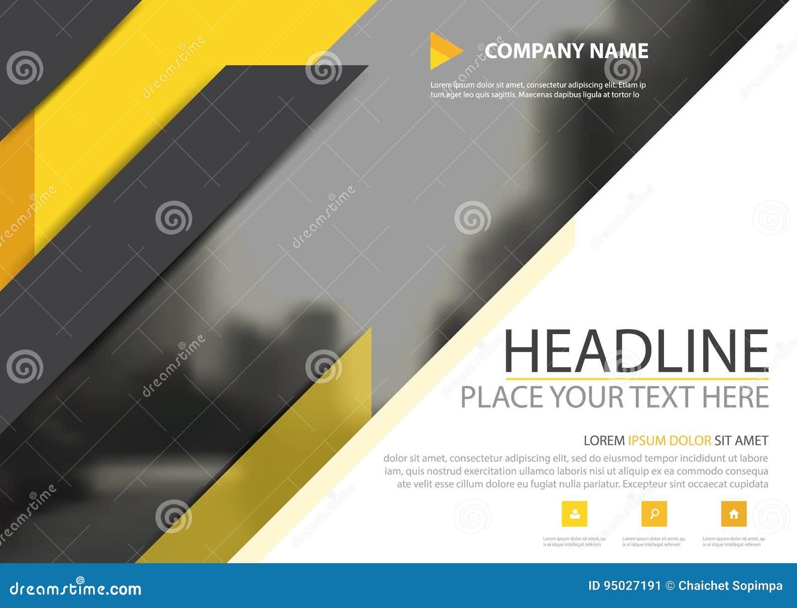 Gul svart design för vektor för räkning för reklamblad för triangelaffärsbroschyr, bakgrund för broschyradvertizingabstrakt begre