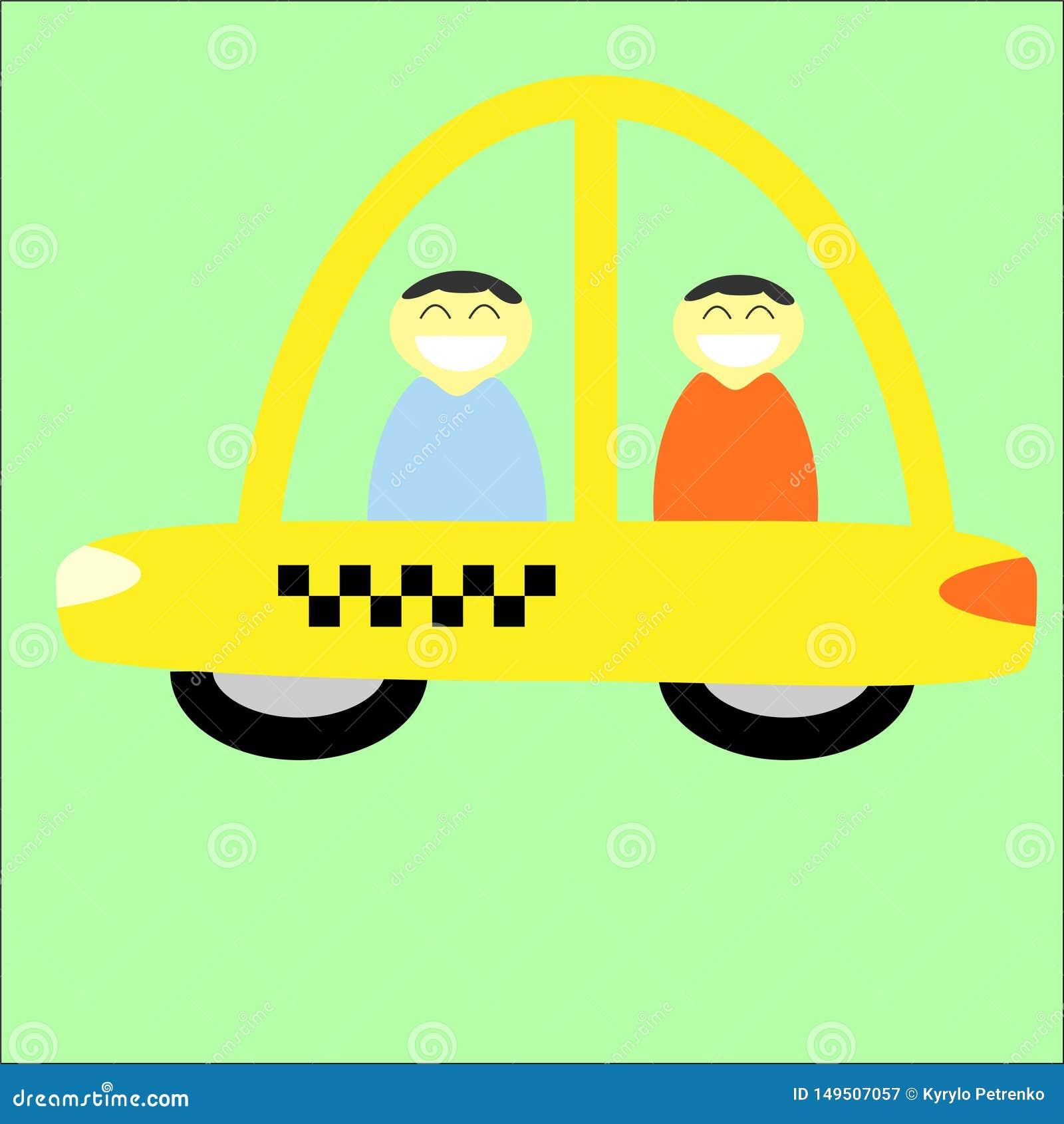 Gul taxitaxi med chauff?rans-passageraren