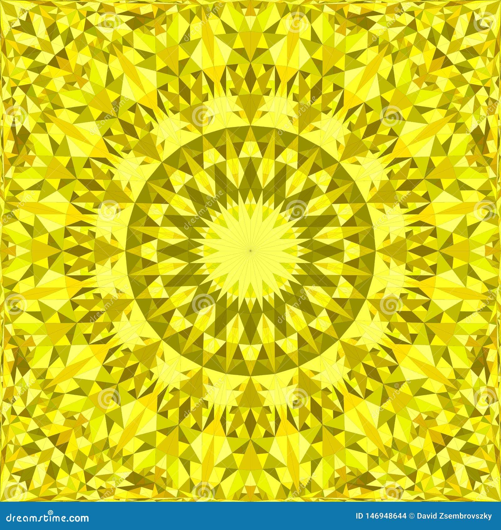 Gul upprepande design för kalejdoskopmodellbakgrund - abstrakt illustration för vektormandalatapet från trianglar