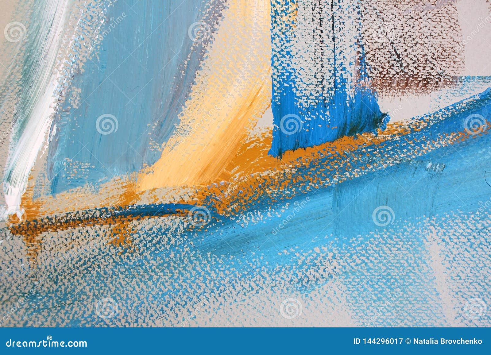 Gula blåa borsteslaglängder på kanfas abstrakt konstbakgrund Färgtextur Fragment av konstverk abstrakt kanfasmålning