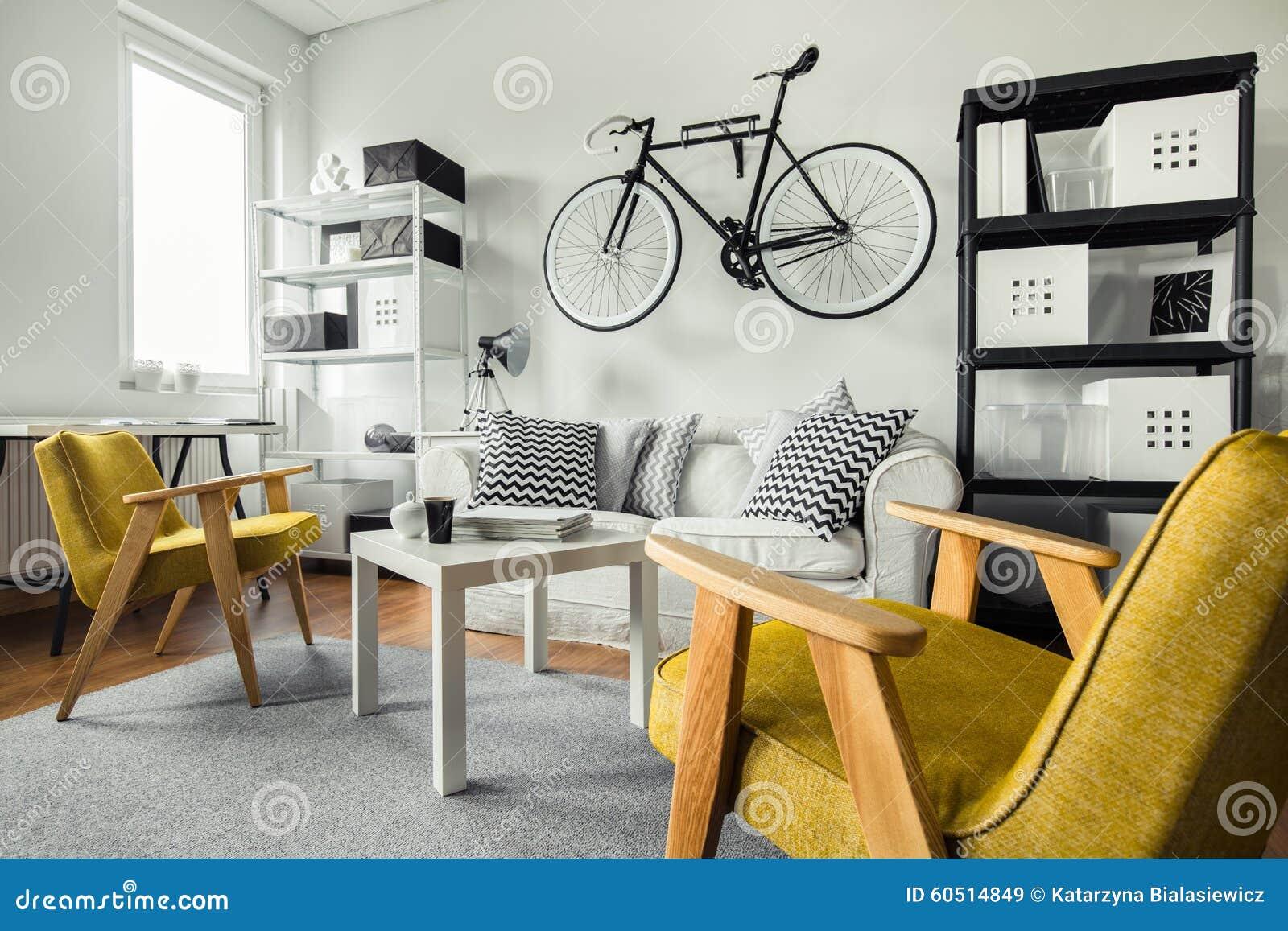 Modern vardagsrum för hipster arkivfoto   bild: 60497523