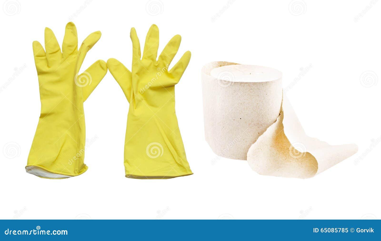 Dammsugare Och Rubber Handskar För Guling För Att Göra Ren