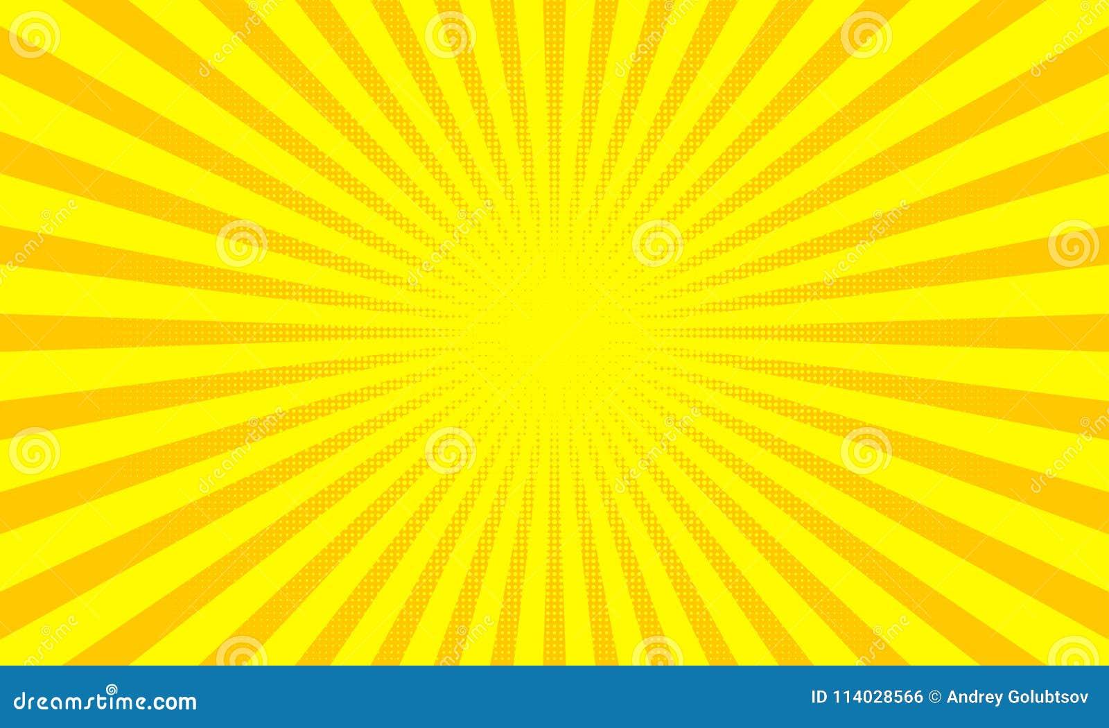 Gula solstrålar eller solstrålbakgrund med design för prickpopkonst abstrakt bakgrundsvektor