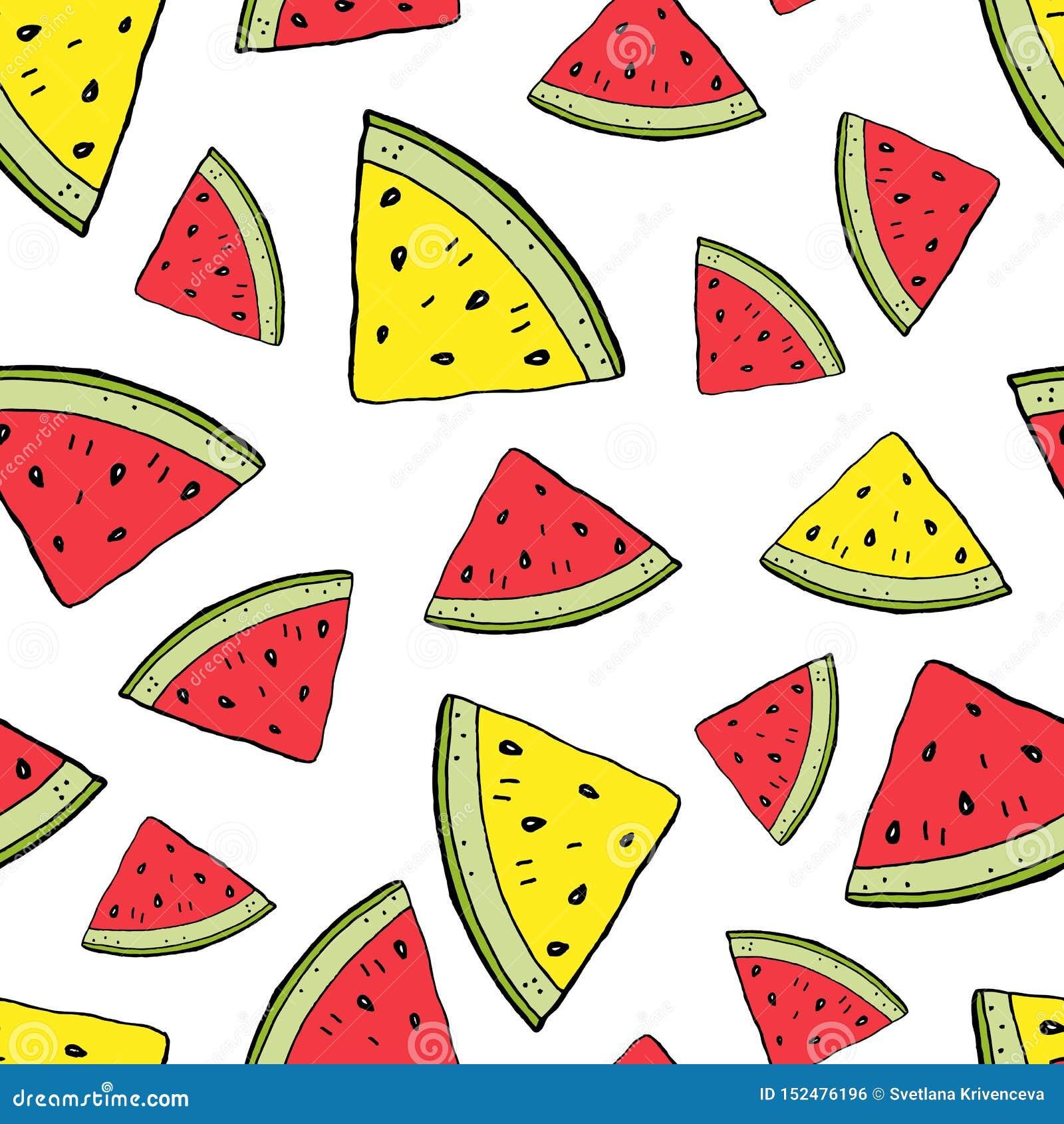 Gula vattenmelonskivor som är röda och