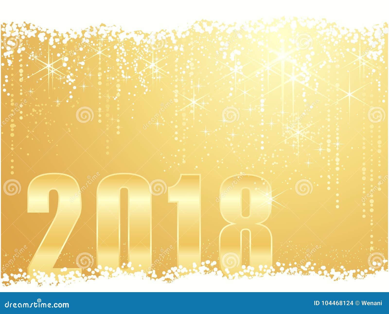 Guld- bakgrund 2018 för lyckligt nytt år