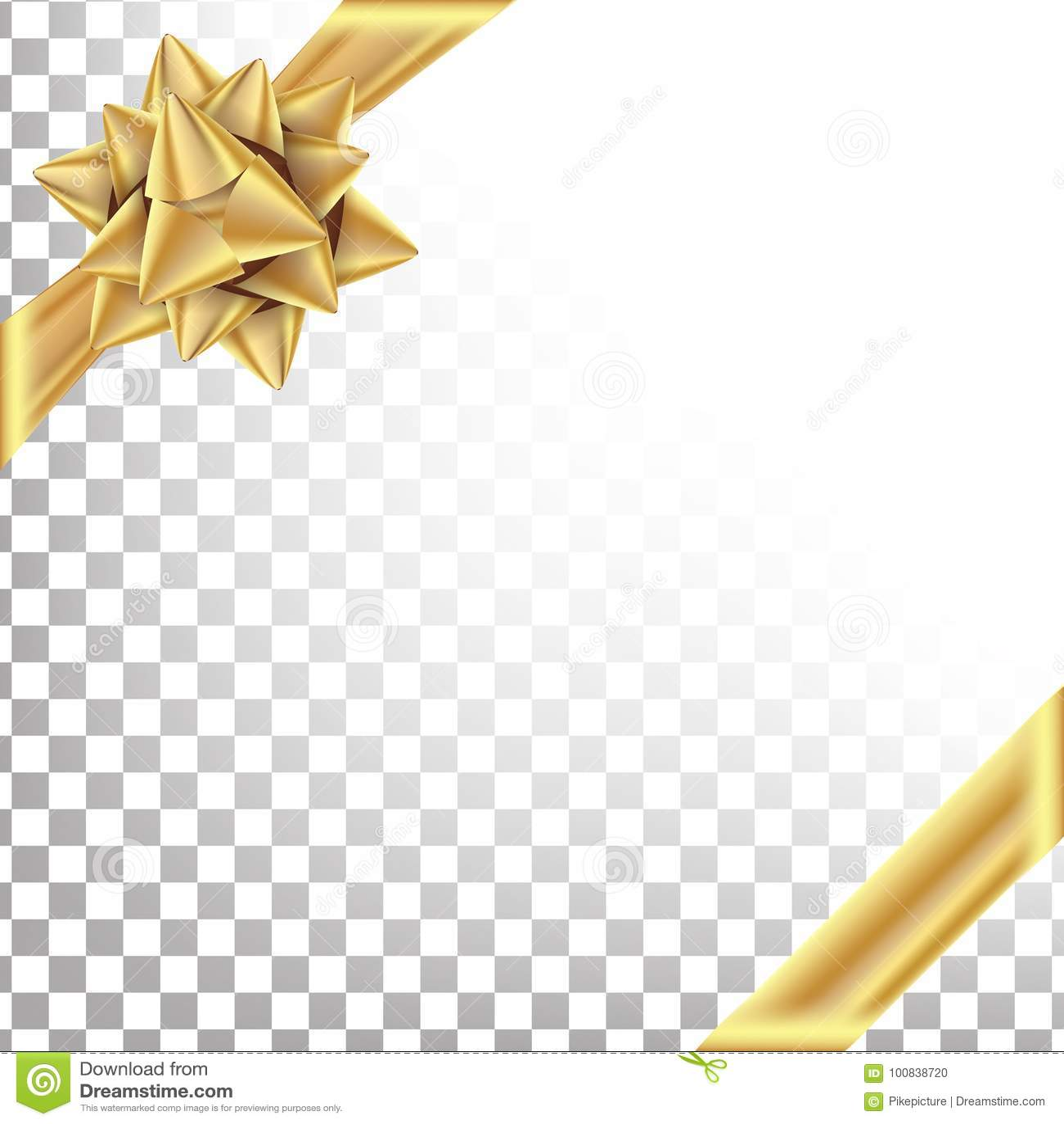 Guld- band med pilbågevektorn Utrymme för text Gåvainpackning för affisch, kortdesign Genomskinlig bakgrund för ferie