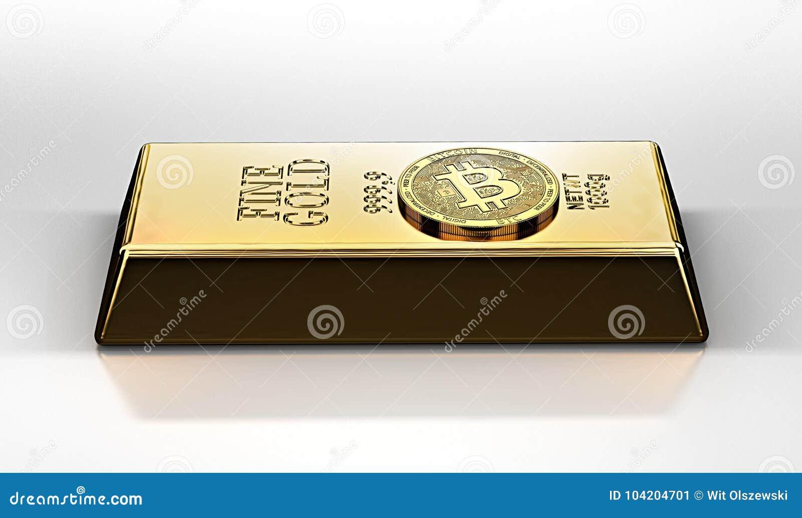 Guld- Bitcoin som lägger på guldtackaguldtackastången Bitcoin som en framtida guld mest dyrbar artikel i världen