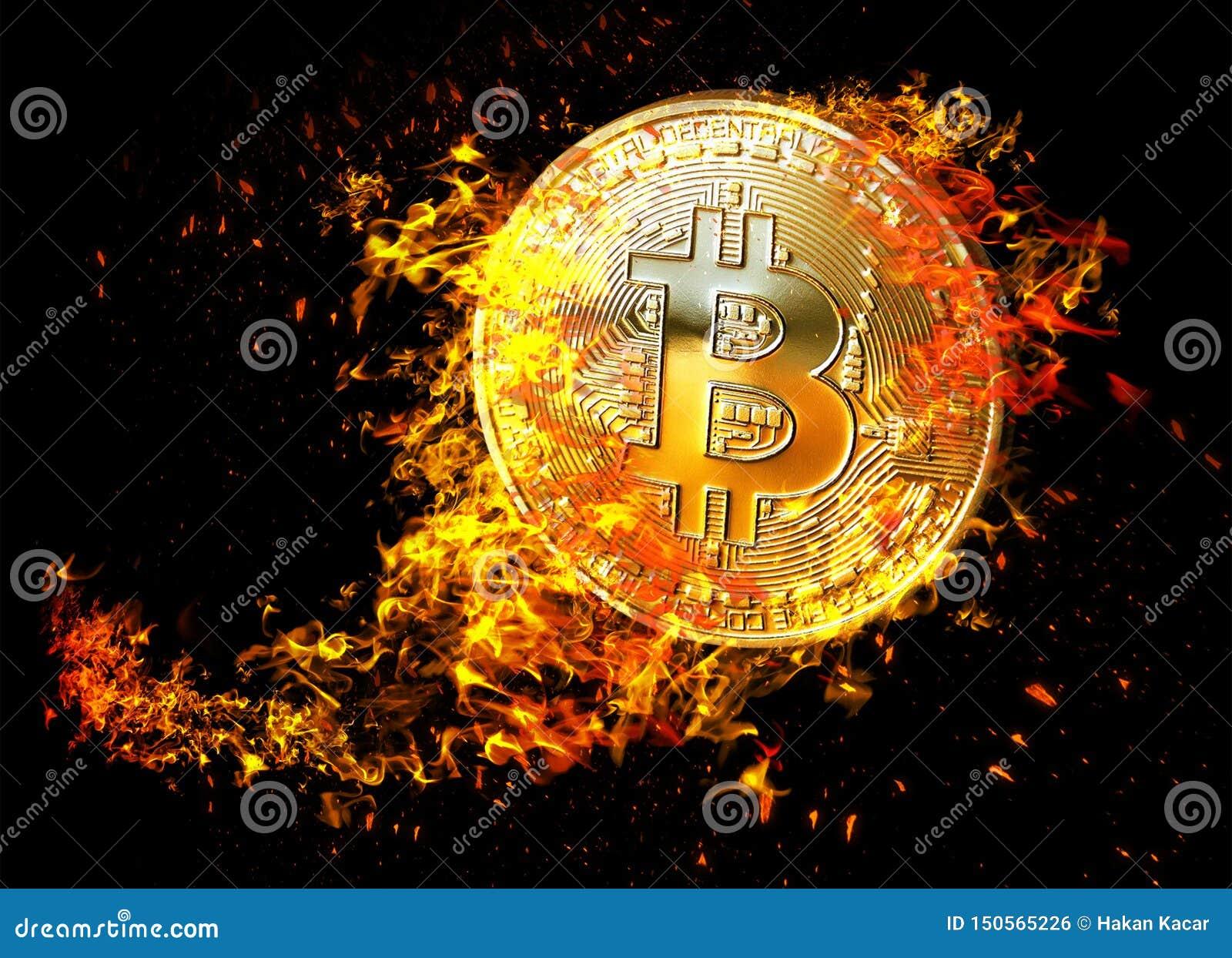 Guld- bitcoinmyntflyg i brandflamma Brinnande crypto illustration f?r valutabitcoinsymbol som isoleras p? svart bakgrund 3d ren