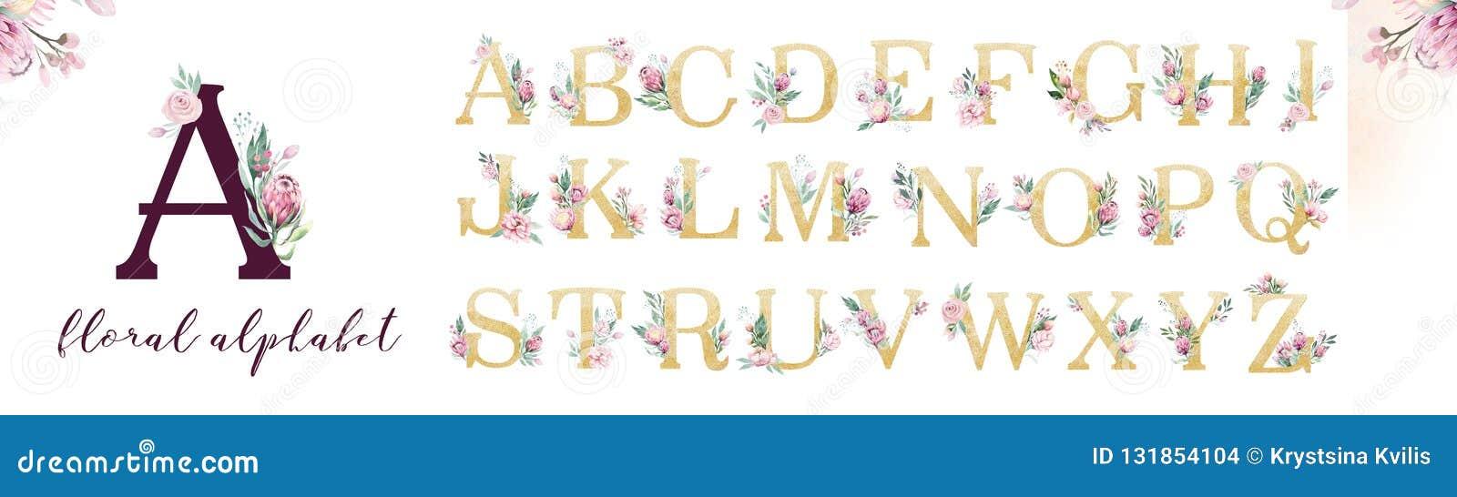 Guld blänker bokstavsalfabet Isolerade guld- alfabetiska stilsorter och nummer på vit bakgrund Blom- gifta sig stilsortstext