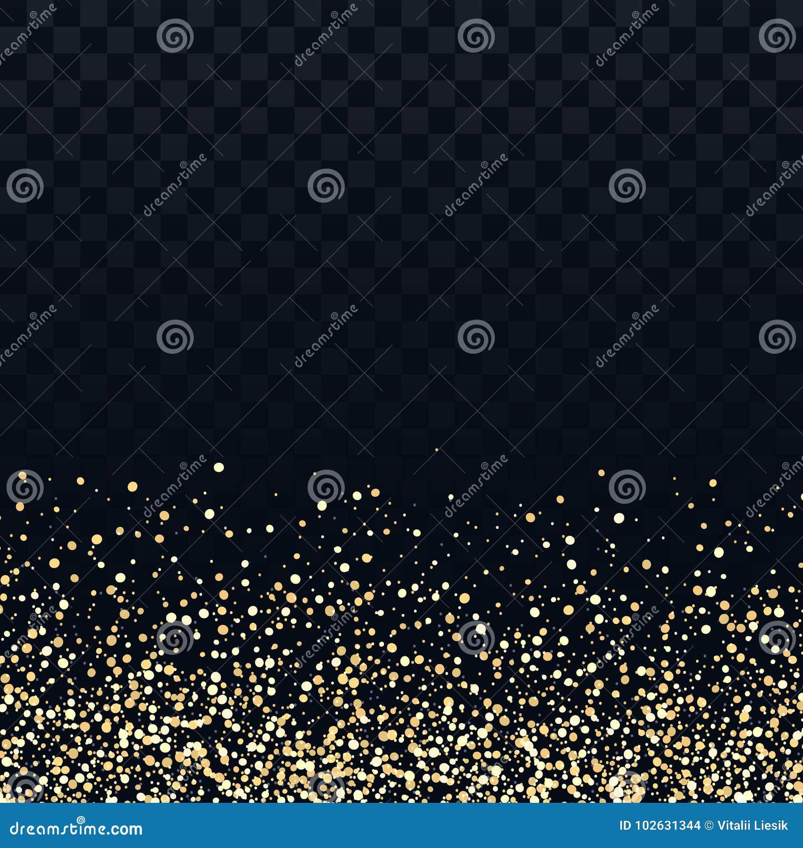 Guld blänker partiklar på genomskinlig bakgrund Guld- dammtextur för vektor Blinka konfettier, skimrande stjärnaljus