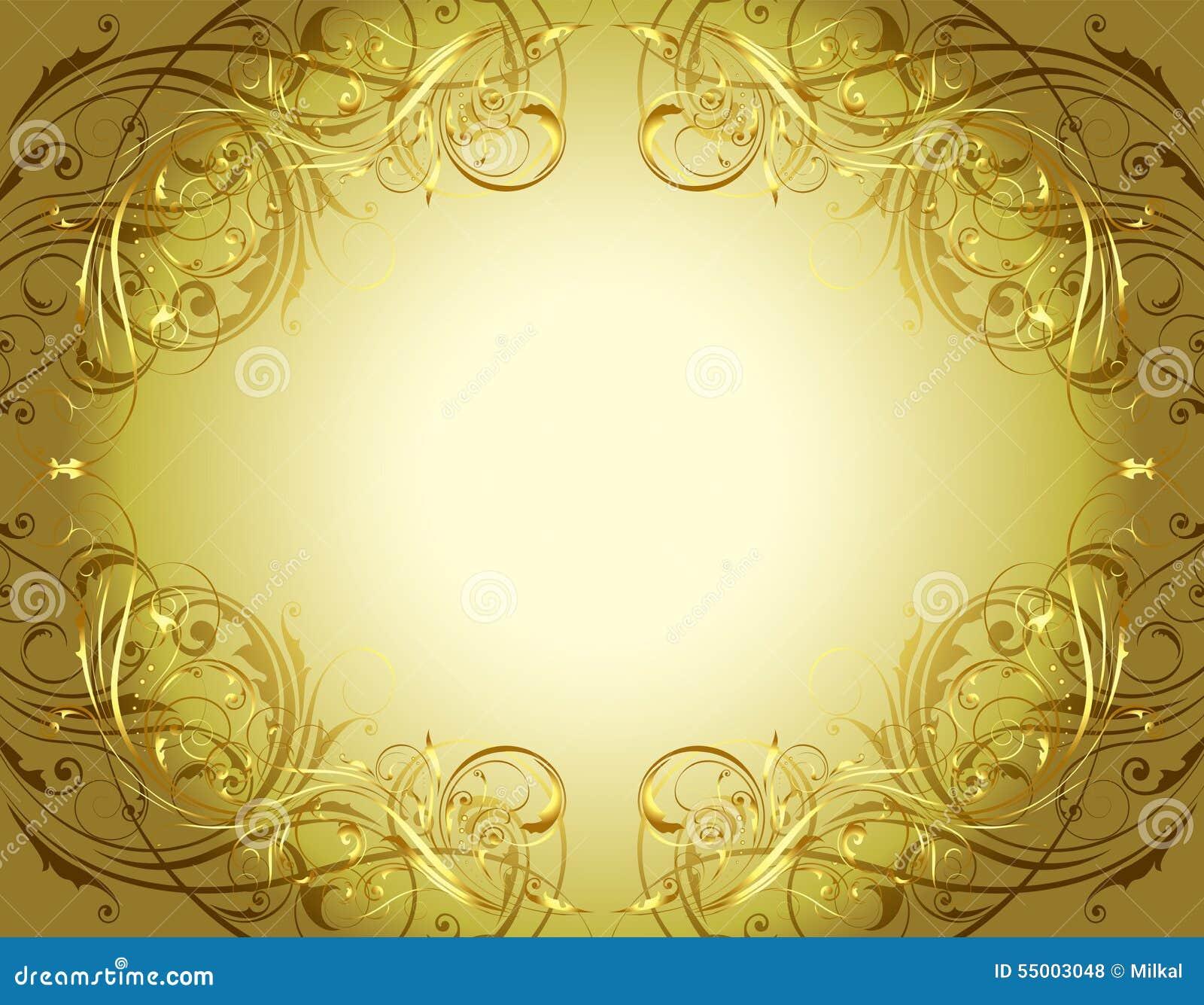 Guld- blom- bakgrundsram