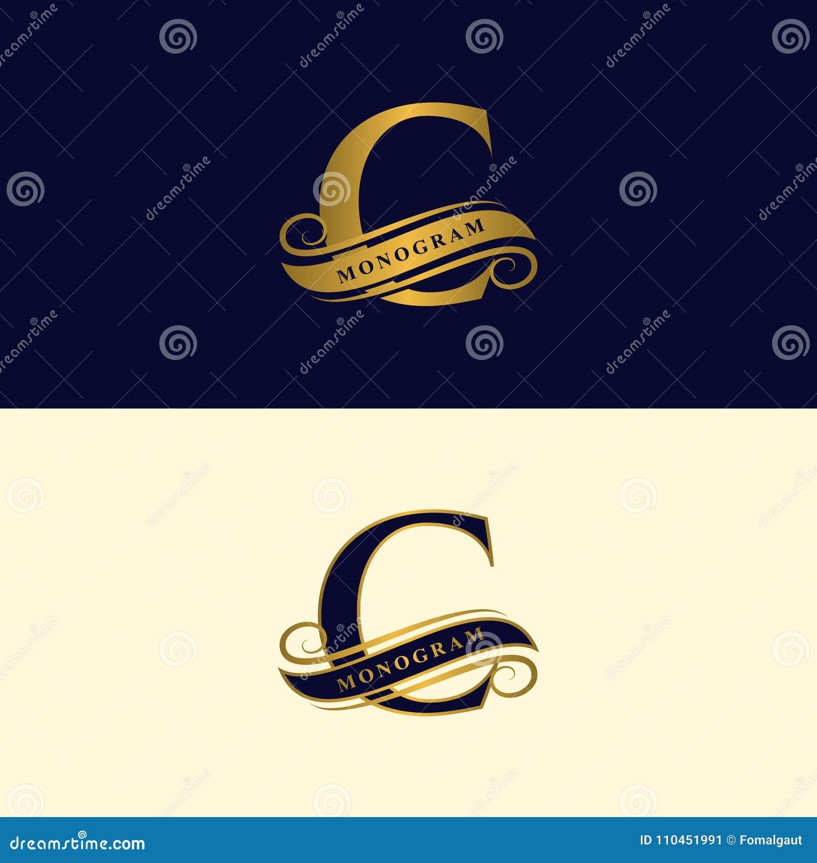 Guld- bokstav C Calligraphic härlig logo med bandet för etiketter Behagfull stil Tappning dragit emblem för bokdesignen, märkesna