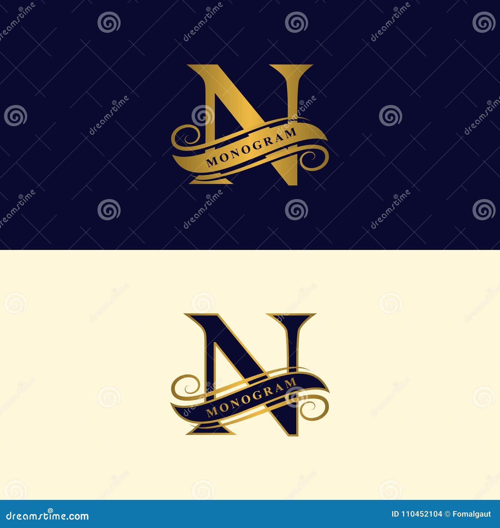 Guld- bokstav N Calligraphic härlig logo med bandet för etiketter Behagfull stil Tappning dragit emblem för bokdesignen, märkesna
