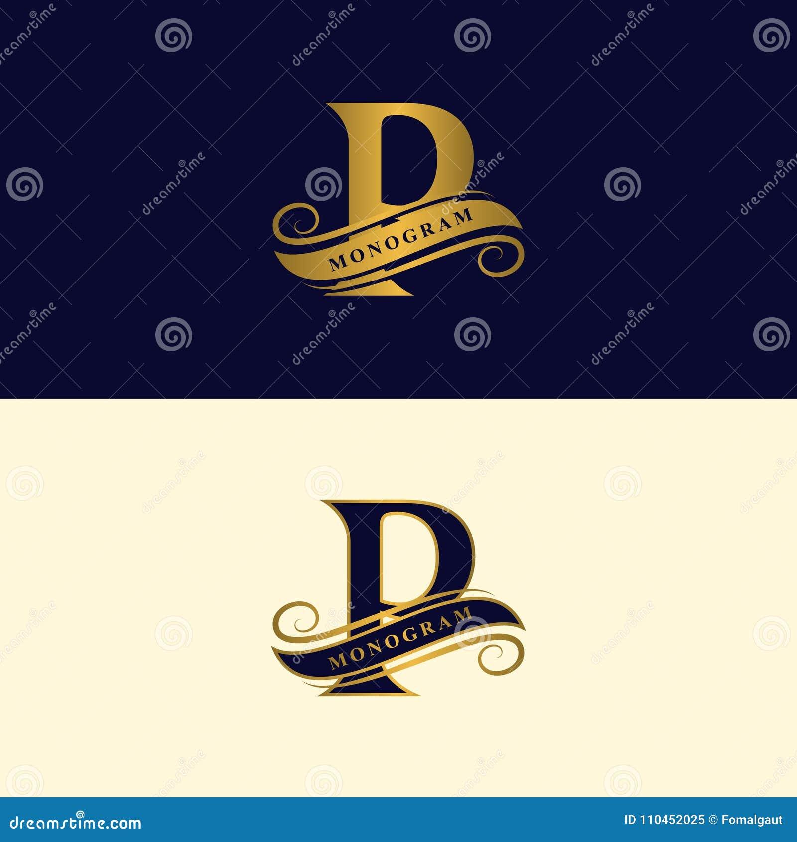 Guld- bokstav P Calligraphic härlig logo med bandet för etiketter Behagfull stil Tappning dragit emblem för bokdesignen, märkesna