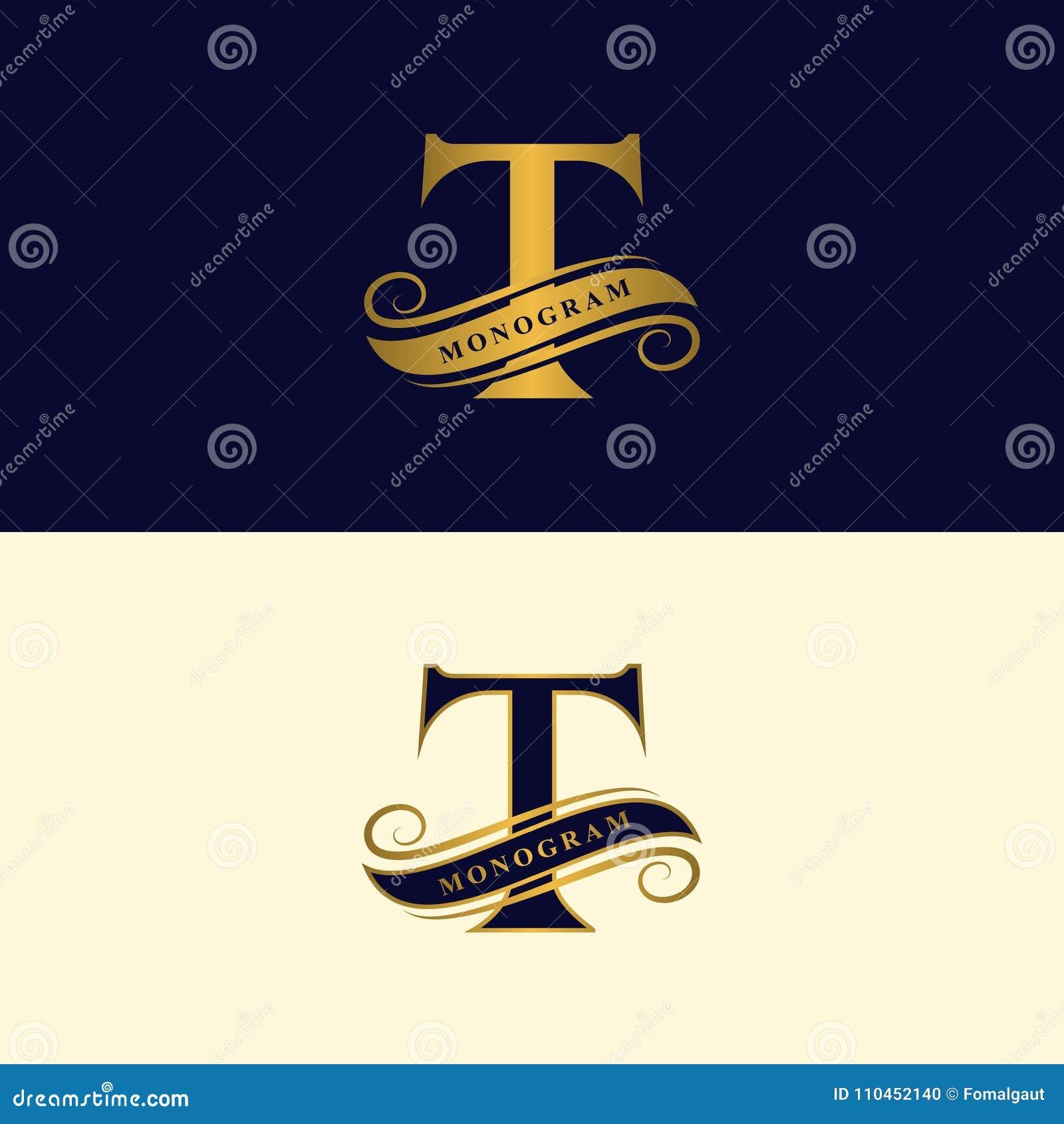 Guld- bokstav T Calligraphic härlig logo med bandet för etiketter Behagfull stil Tappning dragit emblem för bokdesignen, märkesna