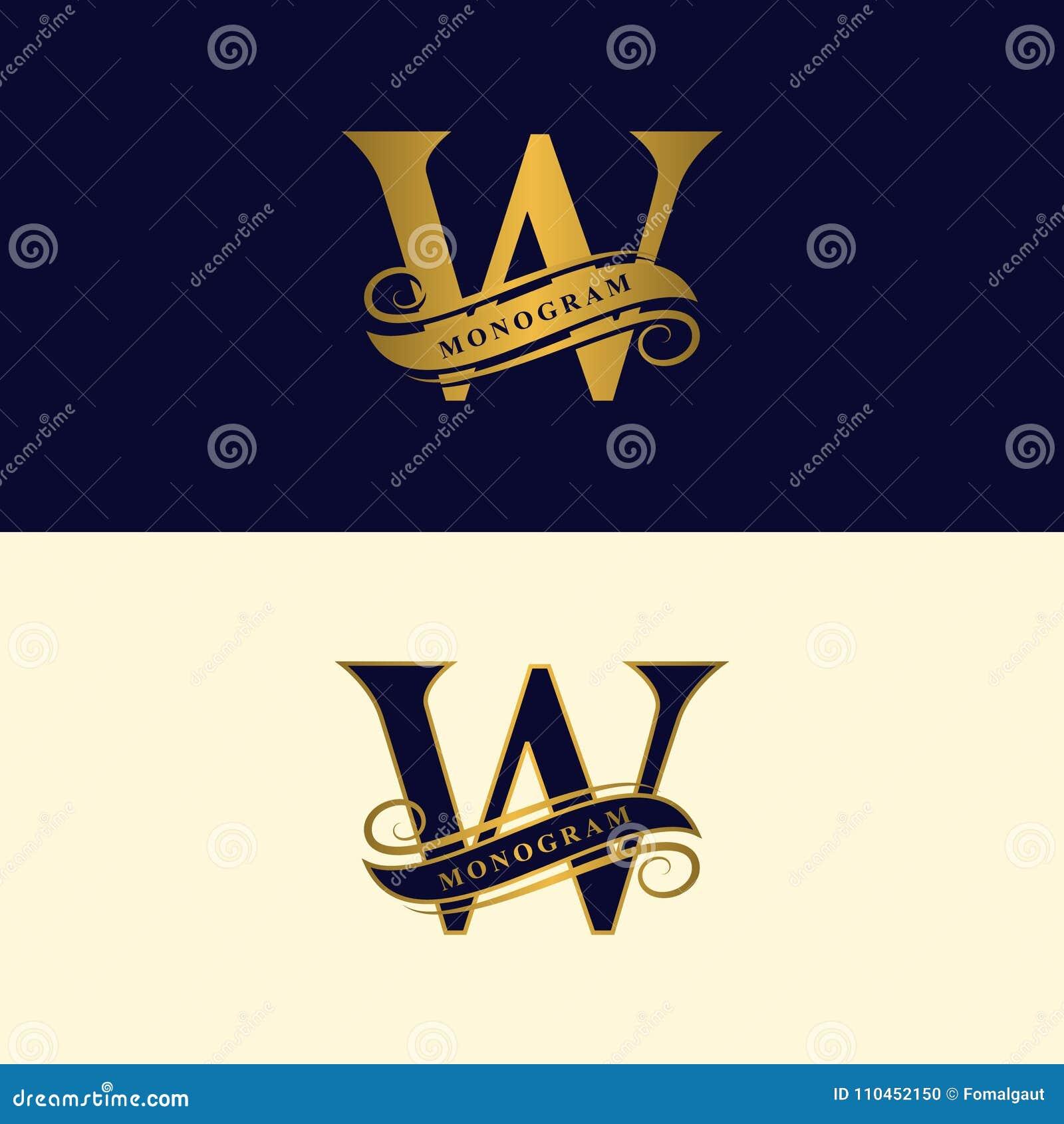 Guld- bokstav W Calligraphic härlig logo med bandet för etiketter Behagfull stil Tappning dragit emblem för bokdesignen, märkesna