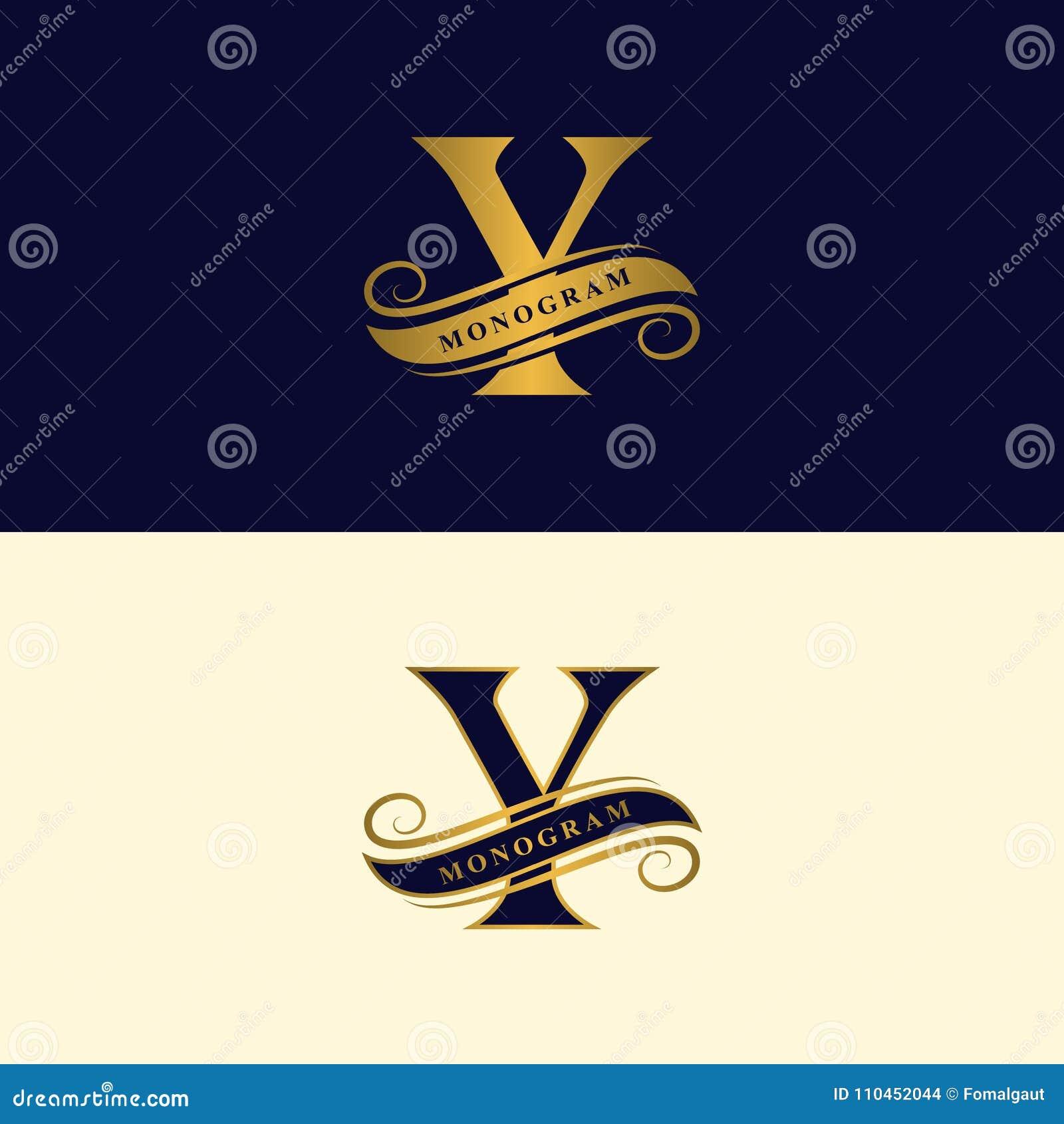 Guld- bokstav Y Calligraphic härlig logo med bandet för etiketter Behagfull stil Tappning dragit emblem för bokdesignen, märkesna
