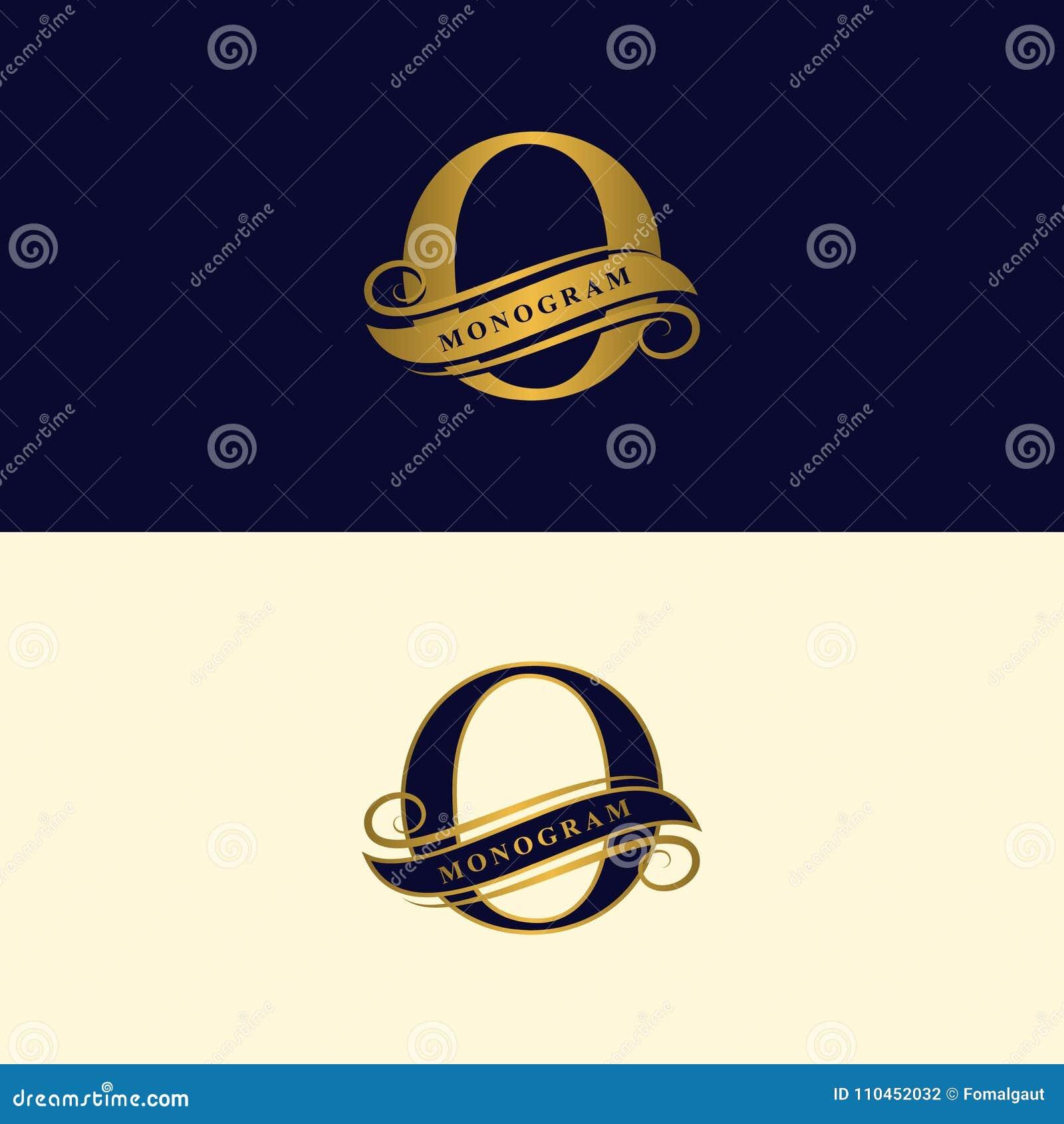 Guld- bokstavsnolla Calligraphic härlig logo med bandet för etiketter Behagfull stil Tappning dragit emblem för bokdesignen, märk