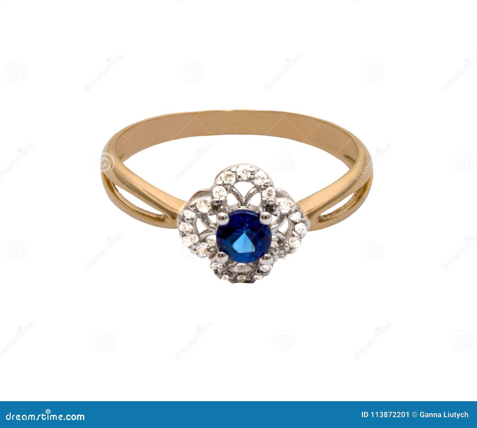Guld- cirkel med stora safir och diamanter